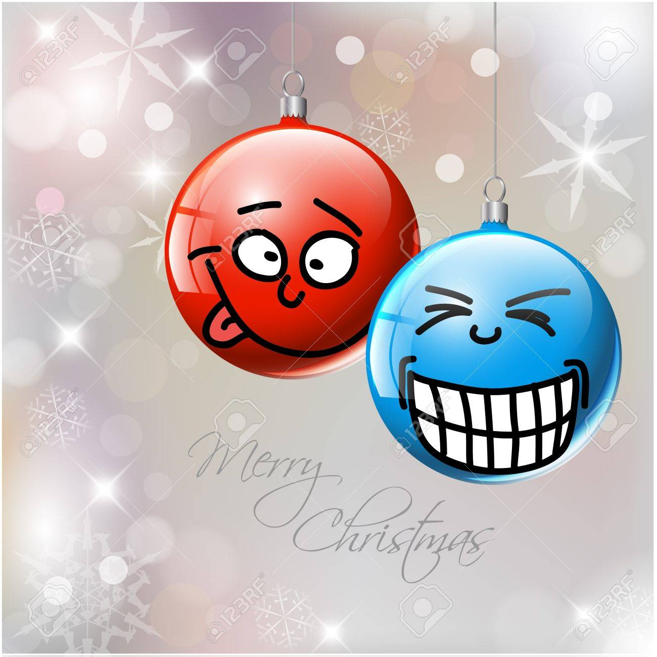 Witzige Christbaumkugeln.Funny Blue And Red Christmas Baubles With Faces