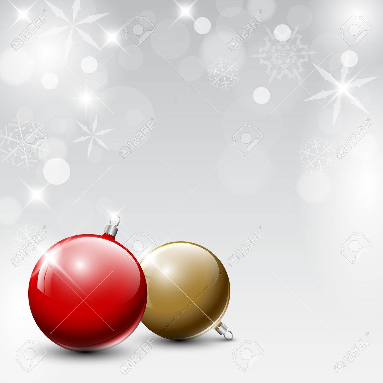 red and golden Christmas realistic baubles on a silver background Stock Vector - 15232659