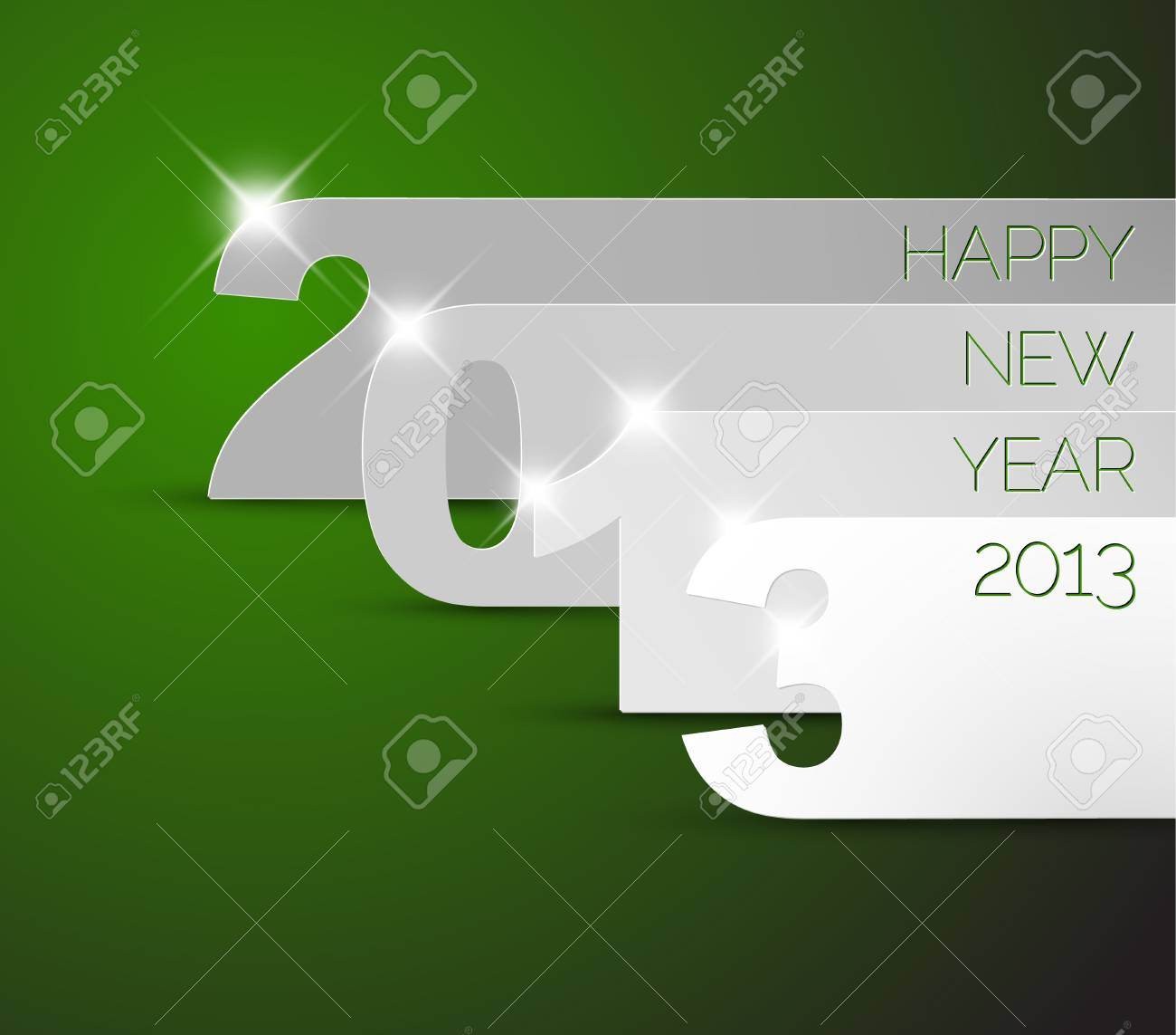 Green and white Happy New Year 2013 Stock Vector - 15553750