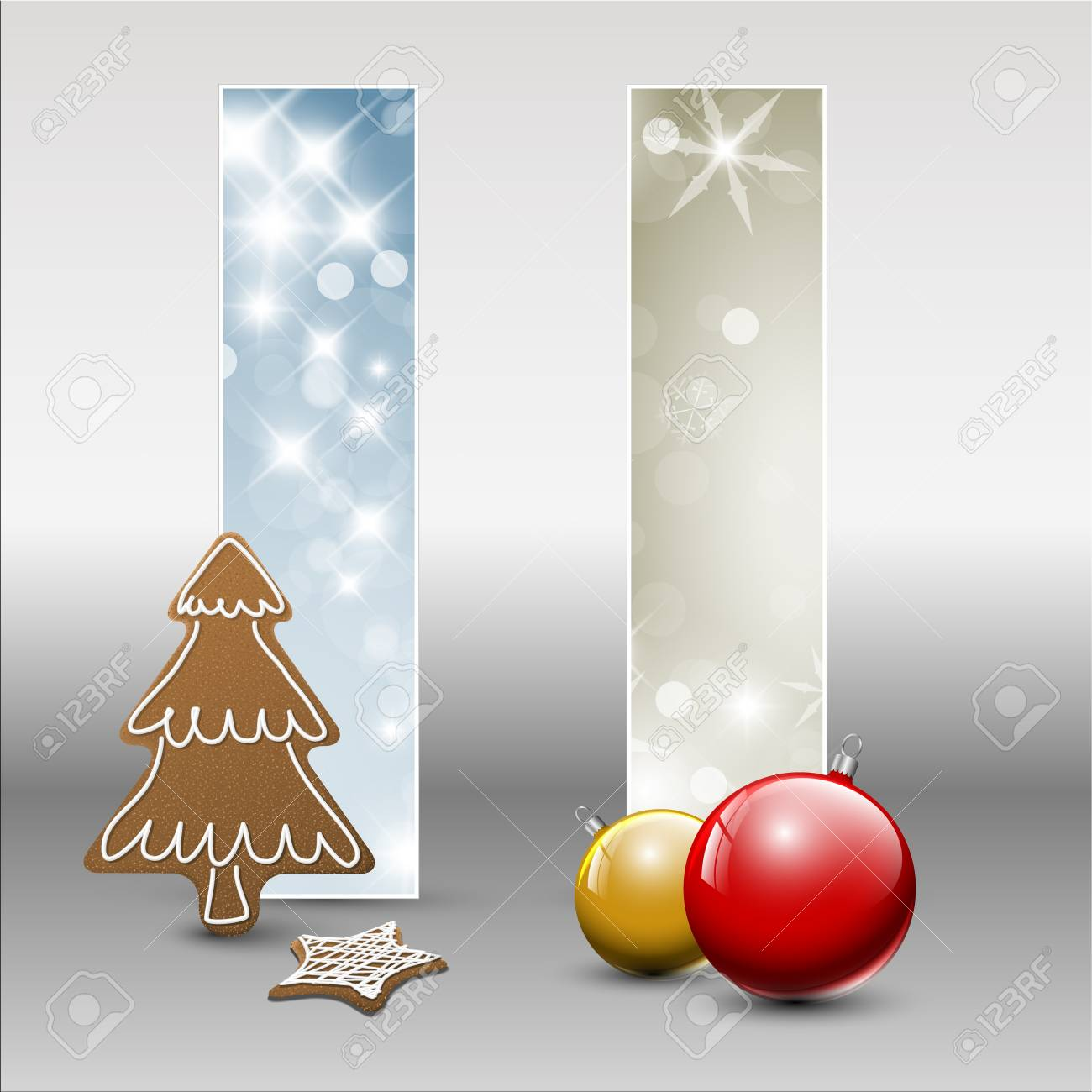 Set of christmas / New Year cards or banners with decorations Stock Vector - 15700340
