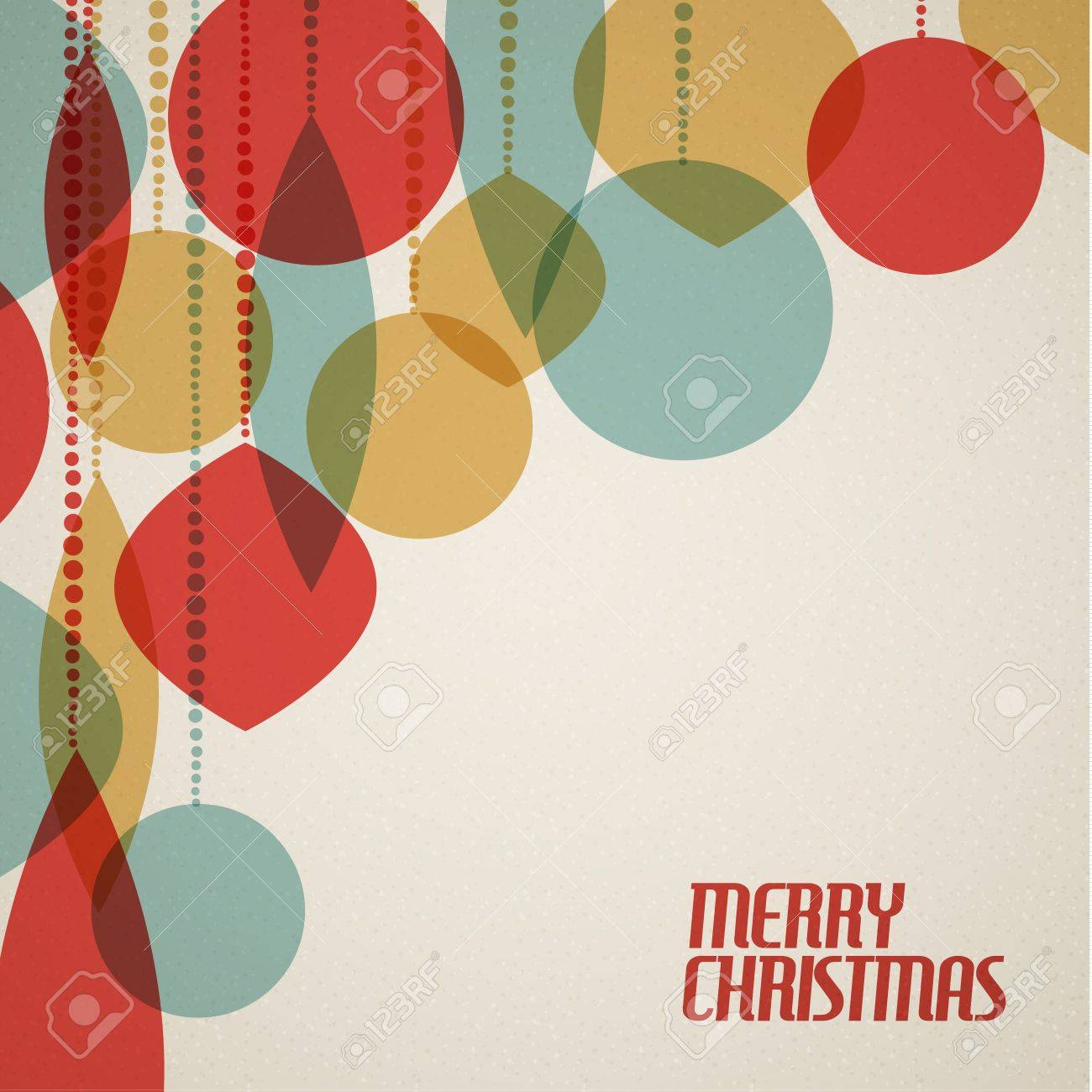 Retro Christmas Card With Christmas Decorations - Teal, Brown ...