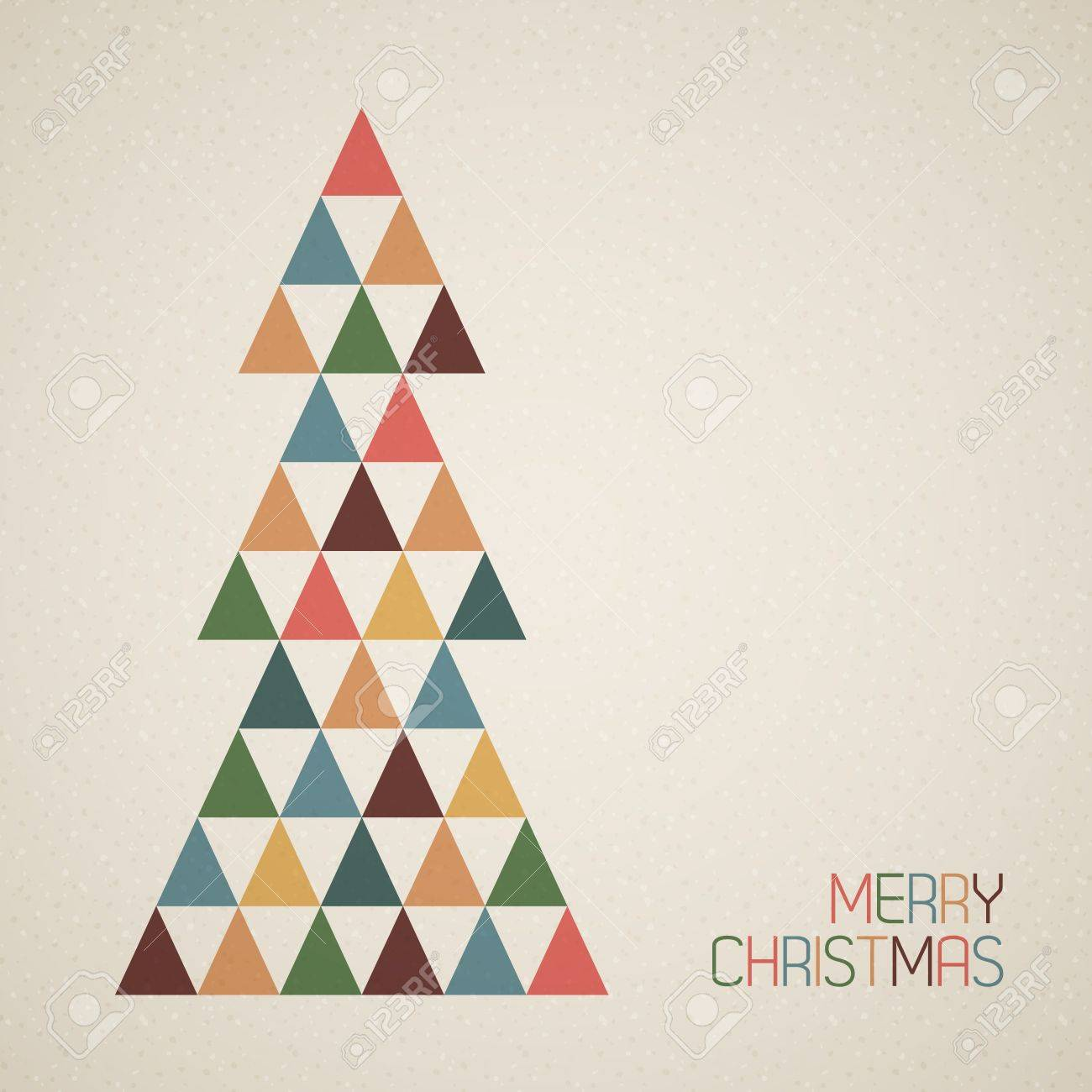 Vintage Retro Vector Grunge Christmas Tree Made From Triangles