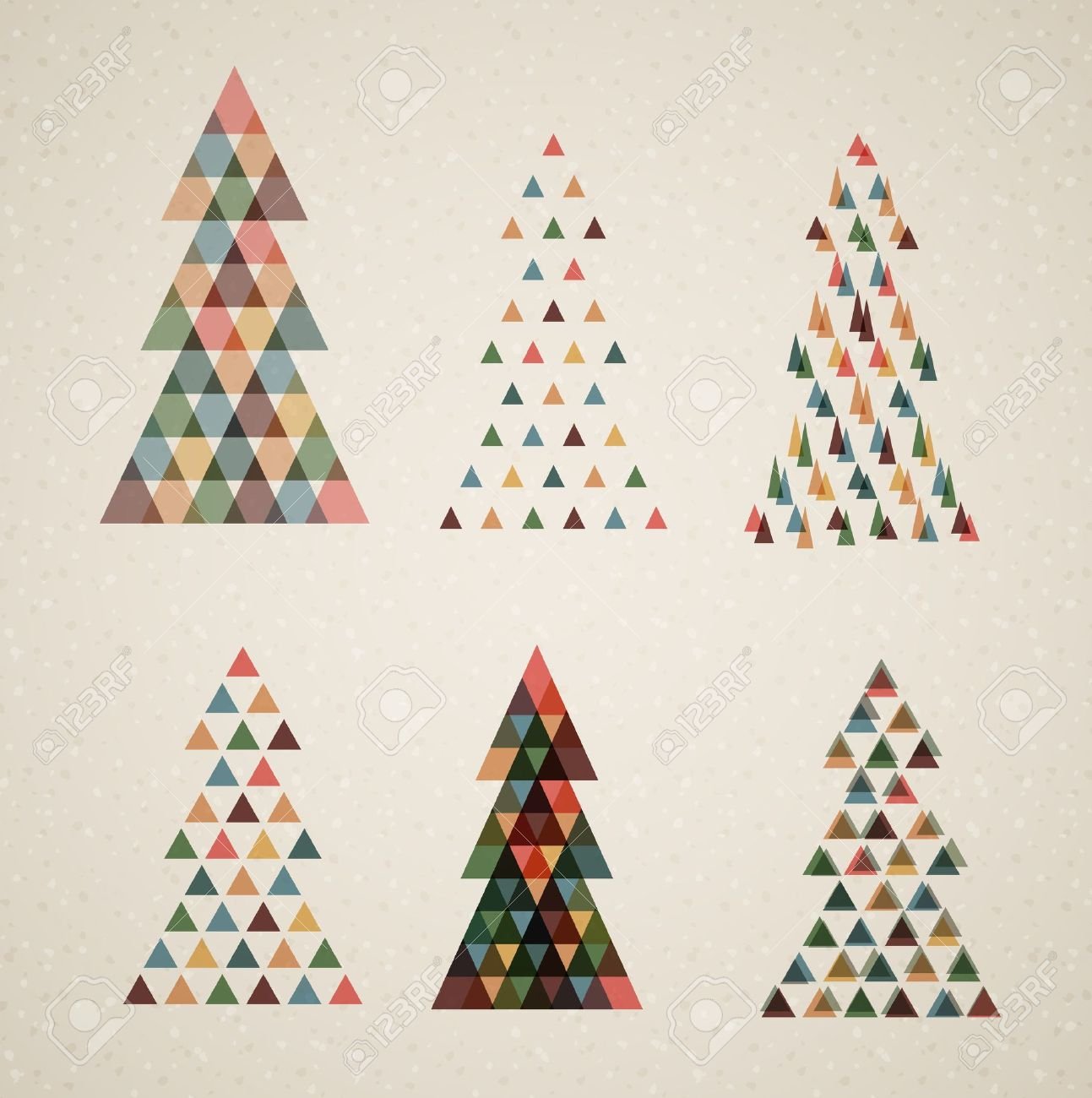 Collection of Vintage retro vector Christmas trees made from triangles Stock Vector - 16236015