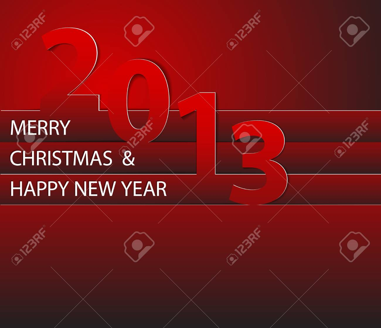 Red Happy New Year 2013  card Stock Vector - 16583656
