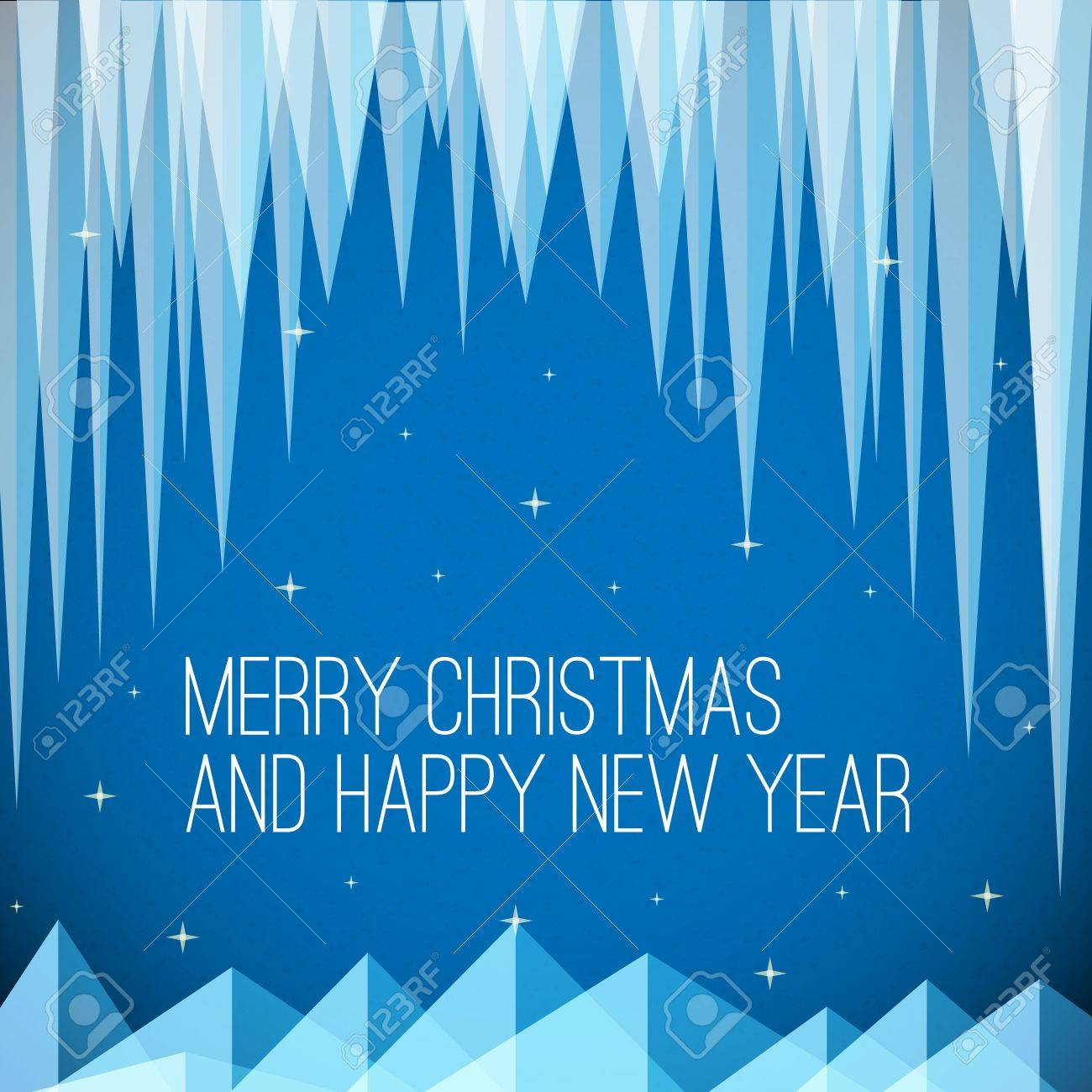 Retro night minimalistic Christmas card with icicles and snowy mountains Stock Vector - 16583660