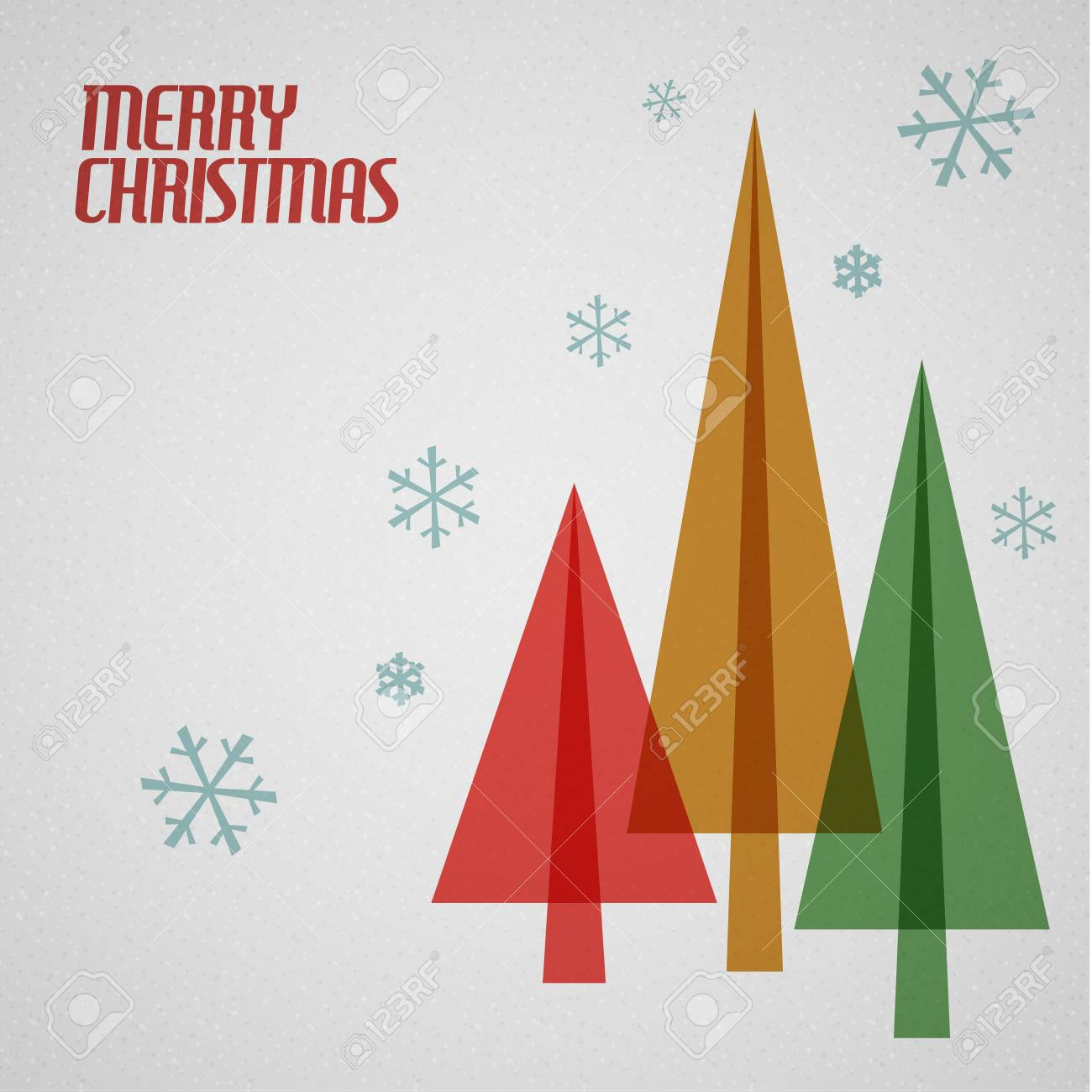 Retro Christmas card with christmas tress and snowflakes - teal, brown and red Stock Vector - 16757842