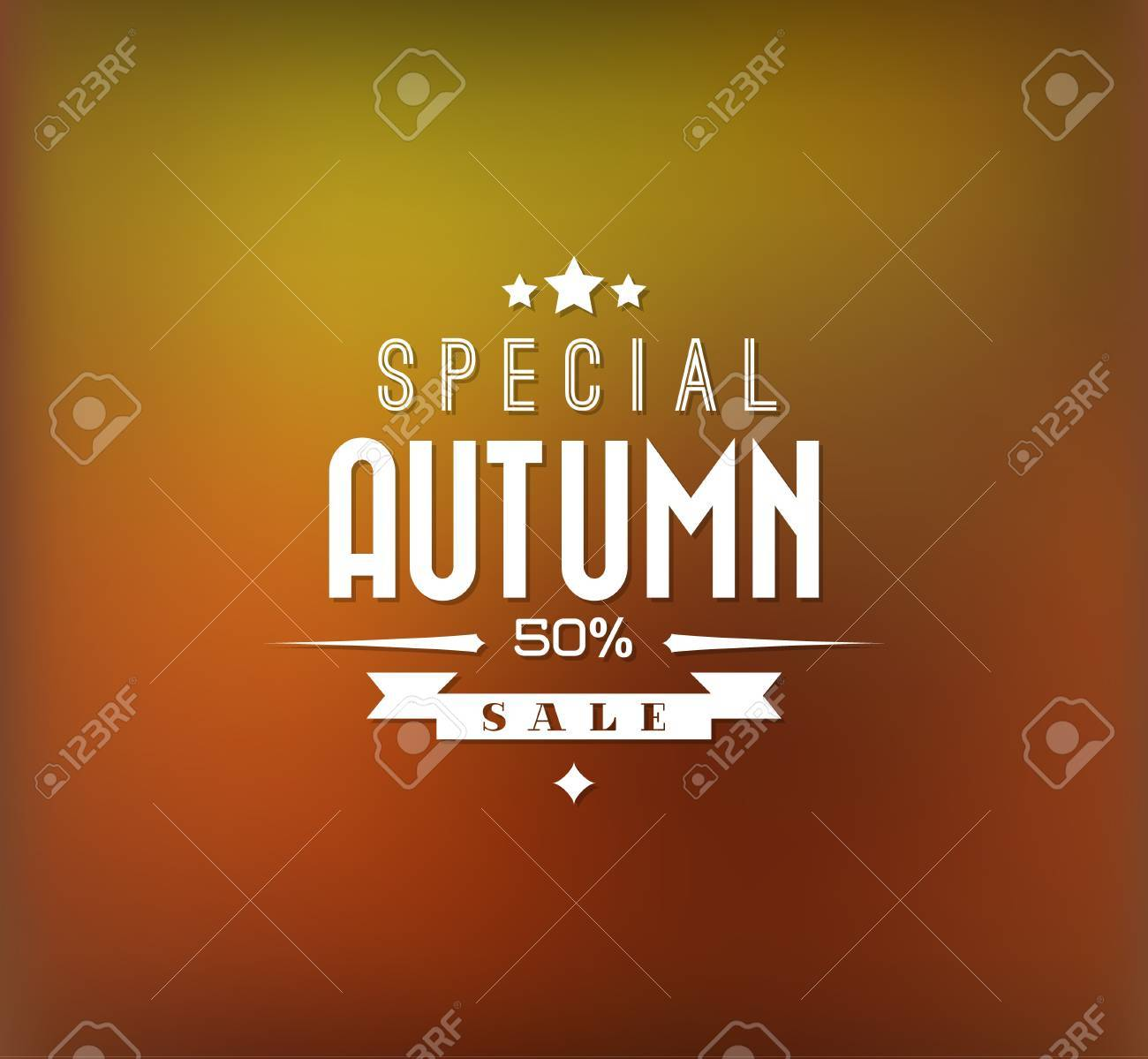 Autumn sale retro poster with abstract blurred fall background - 20616972