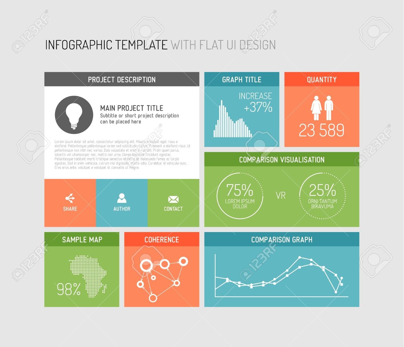 Flat User Interface (UI) Infographic Template / Design Royalty Free ...