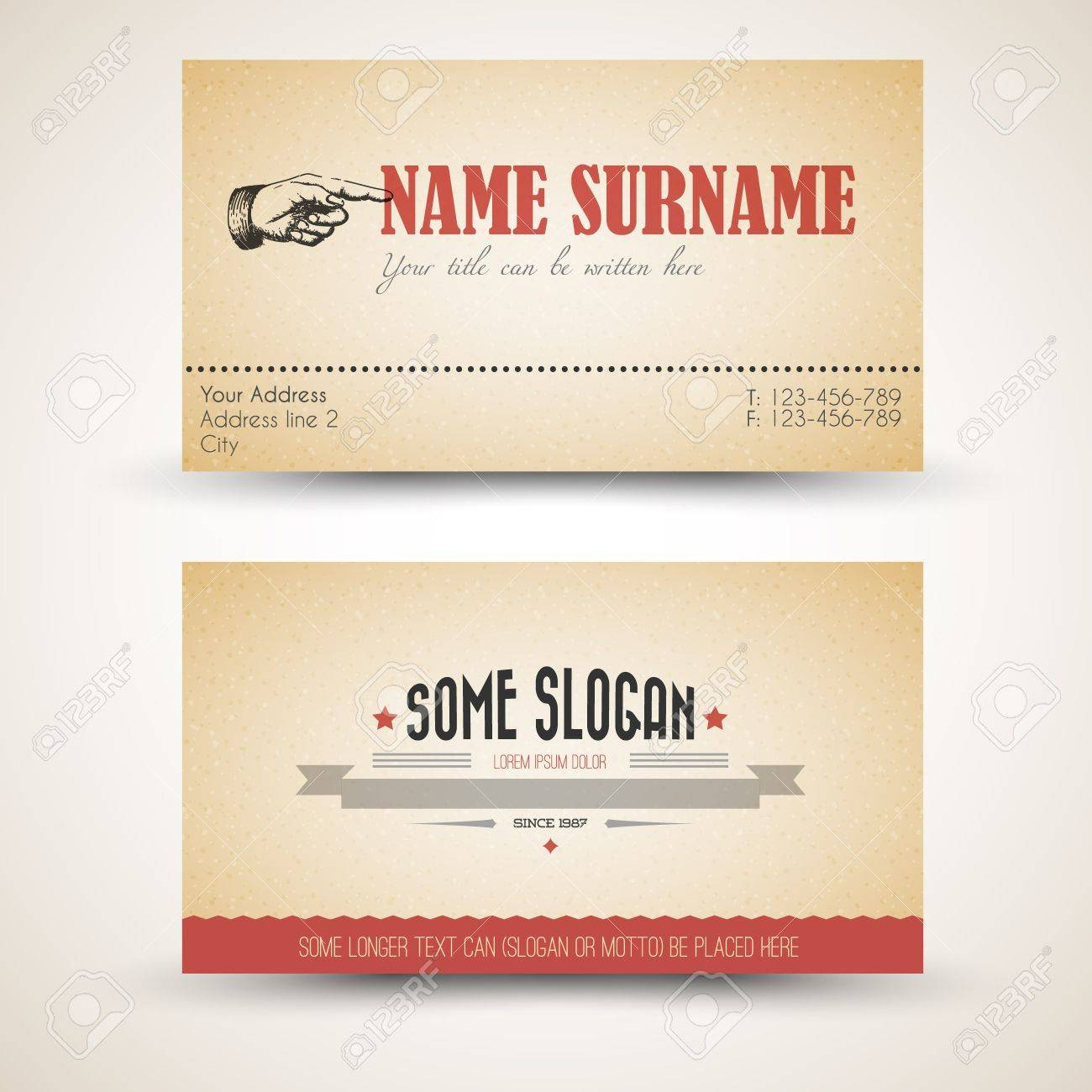 Old-style Retro Vintage Business Card Template - Both Front And ...