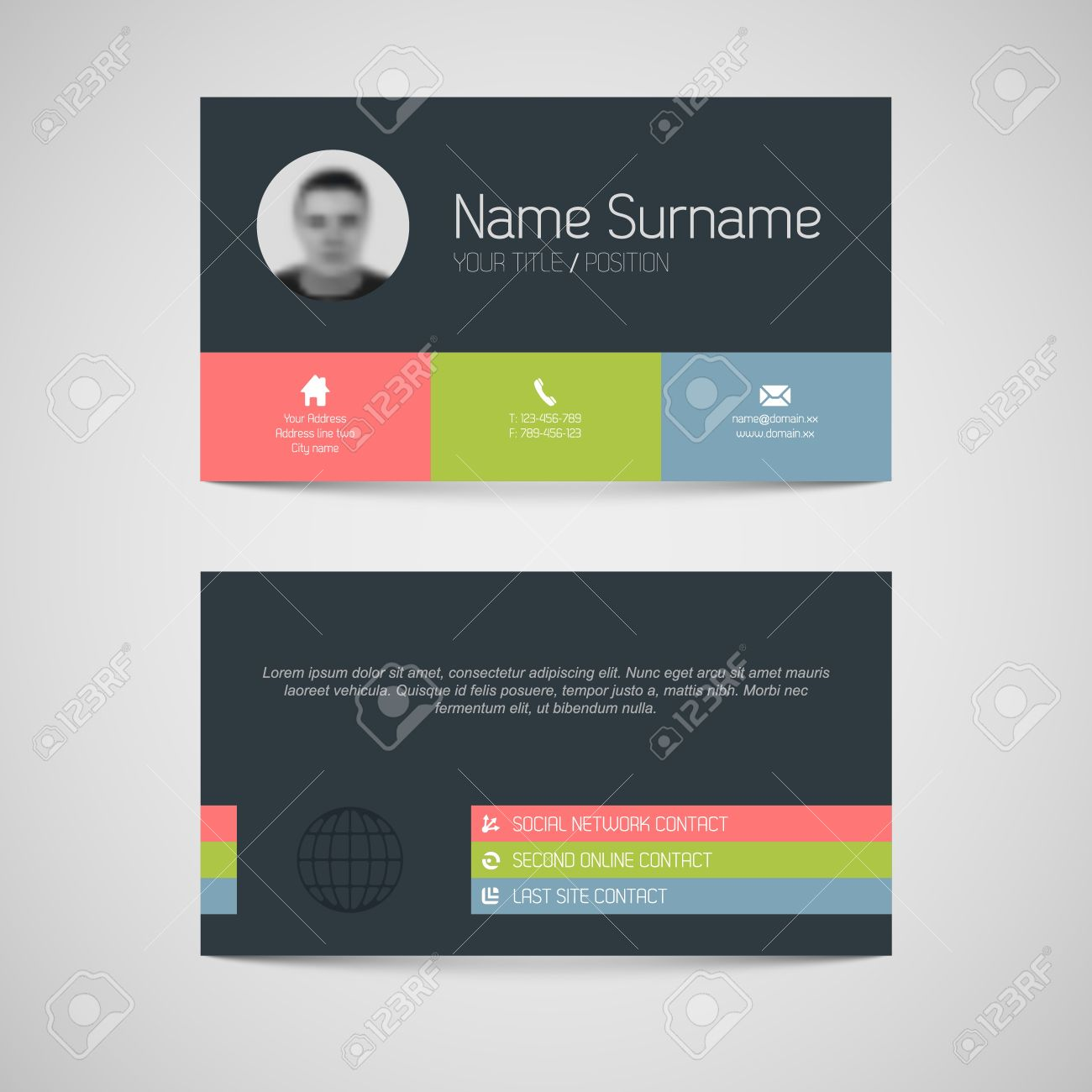 modern simple dark business card template flat user interface modern simple dark business card template flat user interface stock vector 21766437