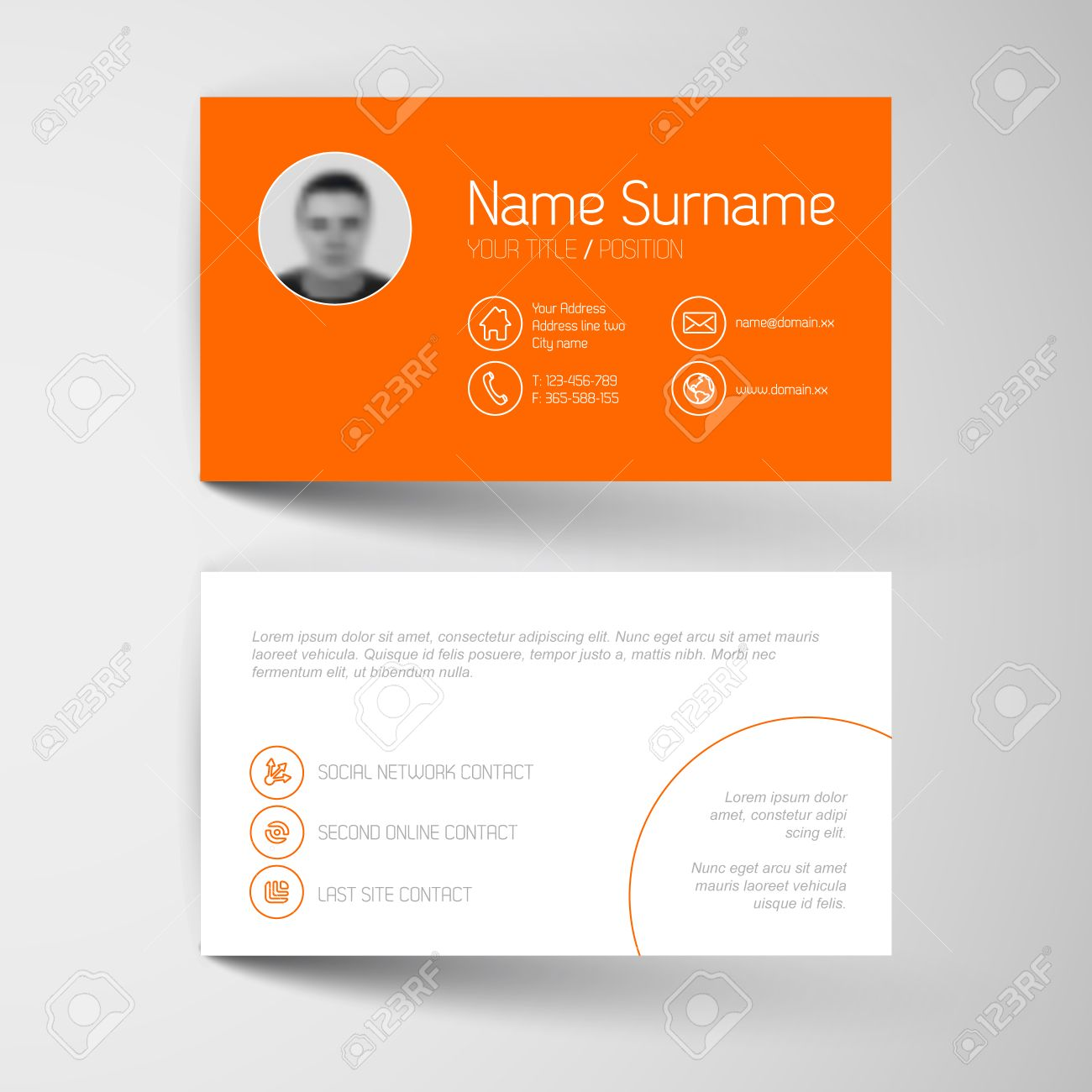 Modern Simple Orange Business Card Template With Flat User ...