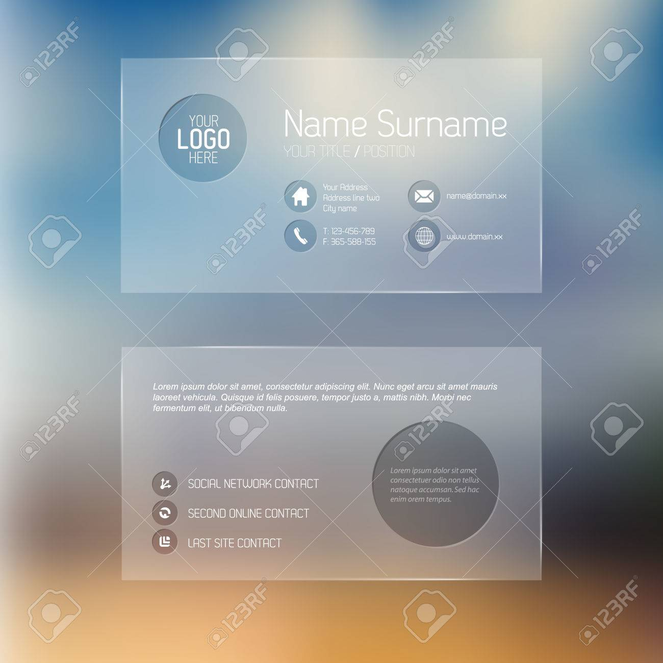 Modern simple transparent business card template with some modern simple transparent business card template with some placeholder stock vector 27316455 fbccfo Gallery