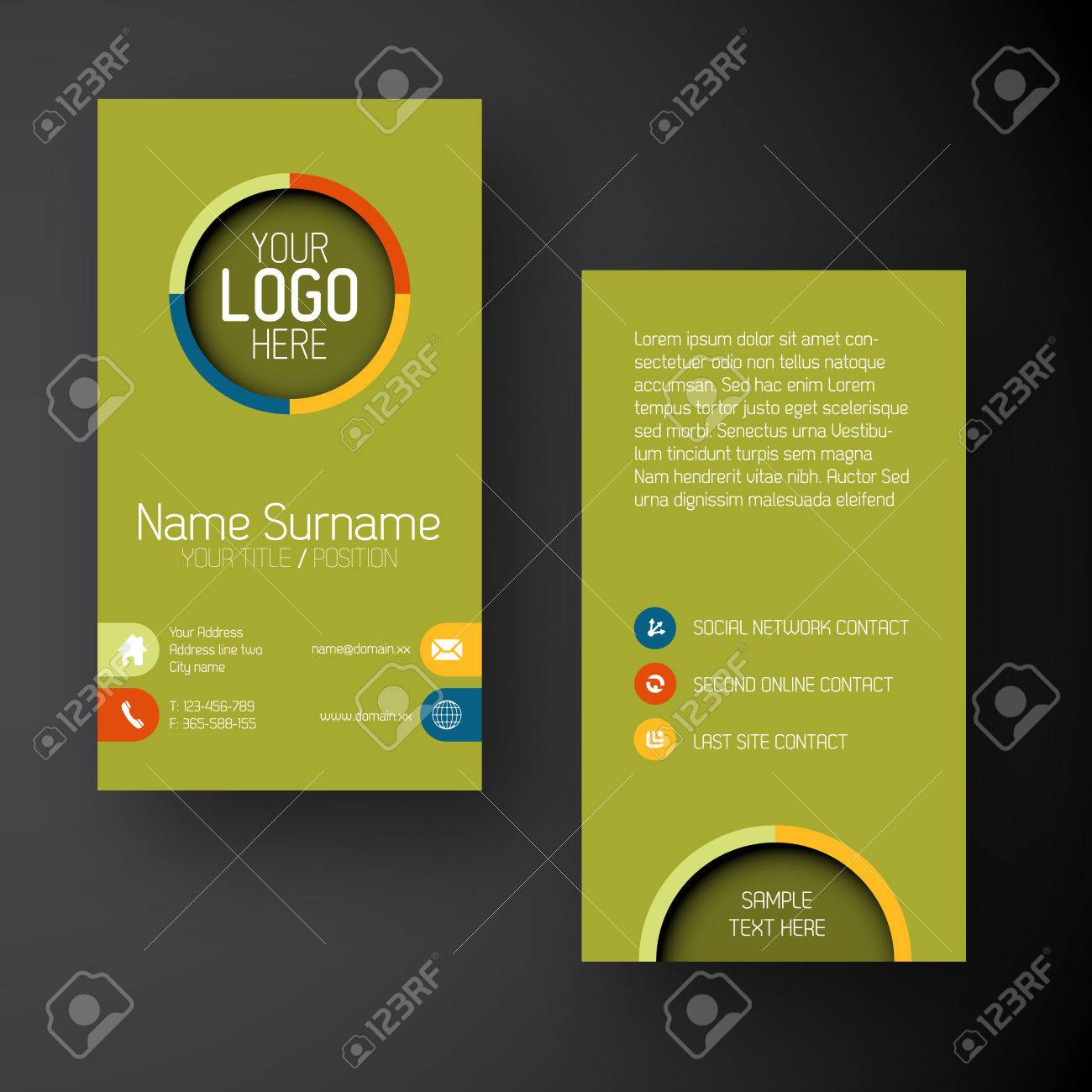 Modern Simple Green Vertical Business Card Template With Some ...