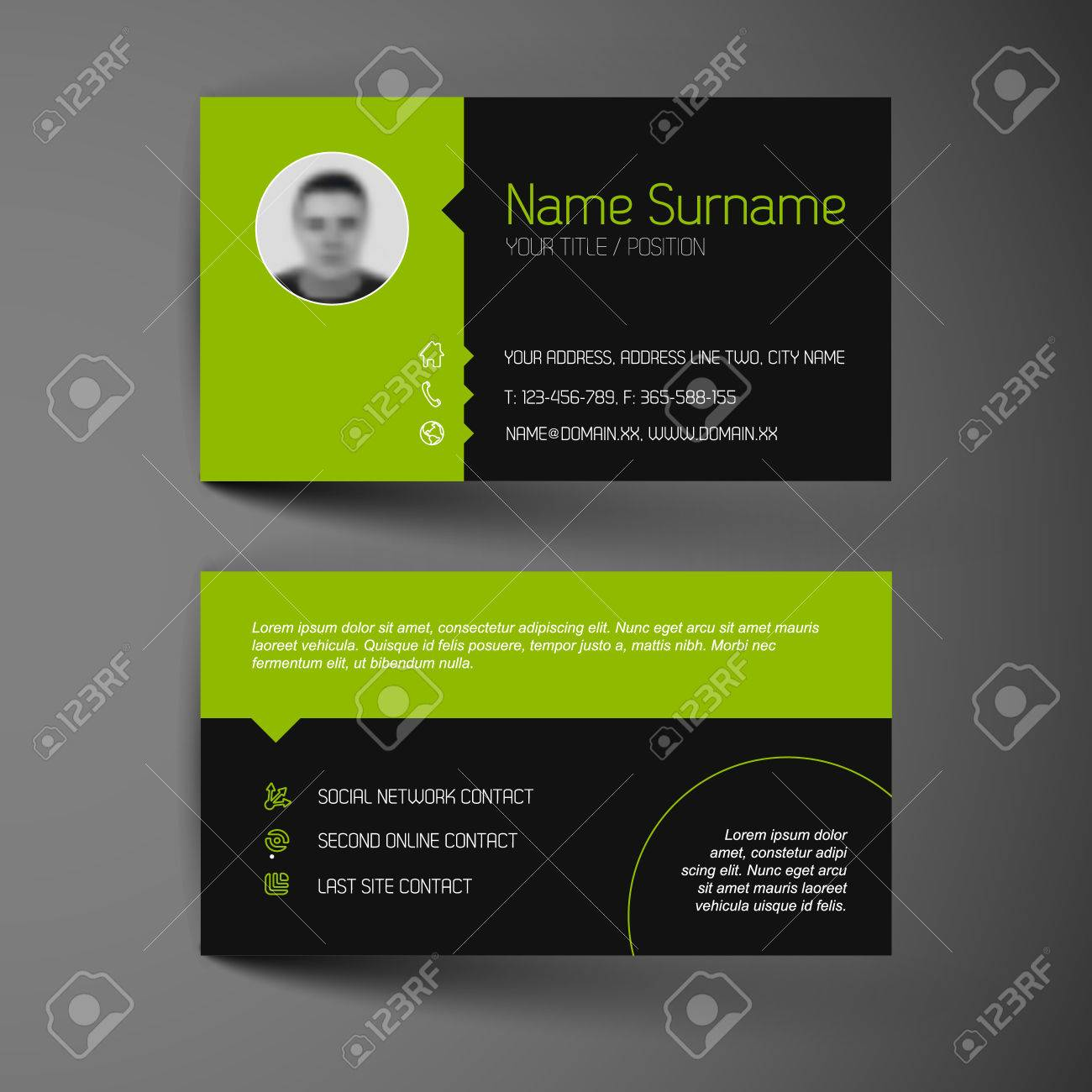 modern dark simple light business card template flat user modern dark simple light business card template flat user interface stock vector 28027418