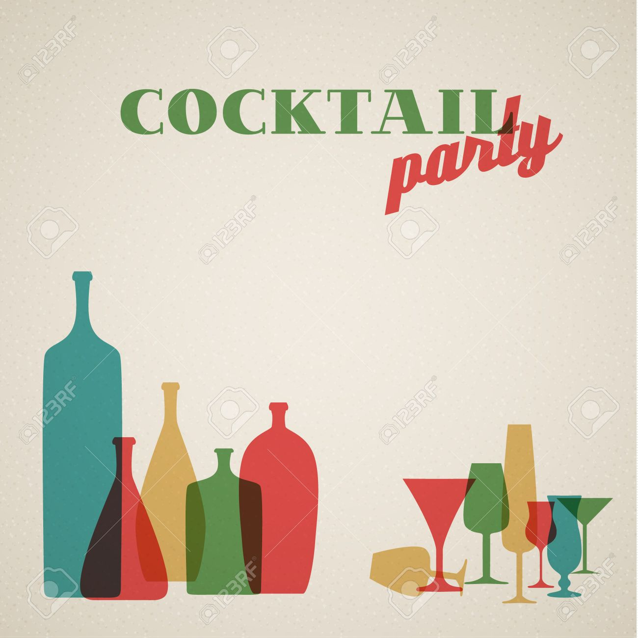 Retro Cocktail Party Invitation Card With Glasses And Bottles – Cocktail Party Invitation Cards
