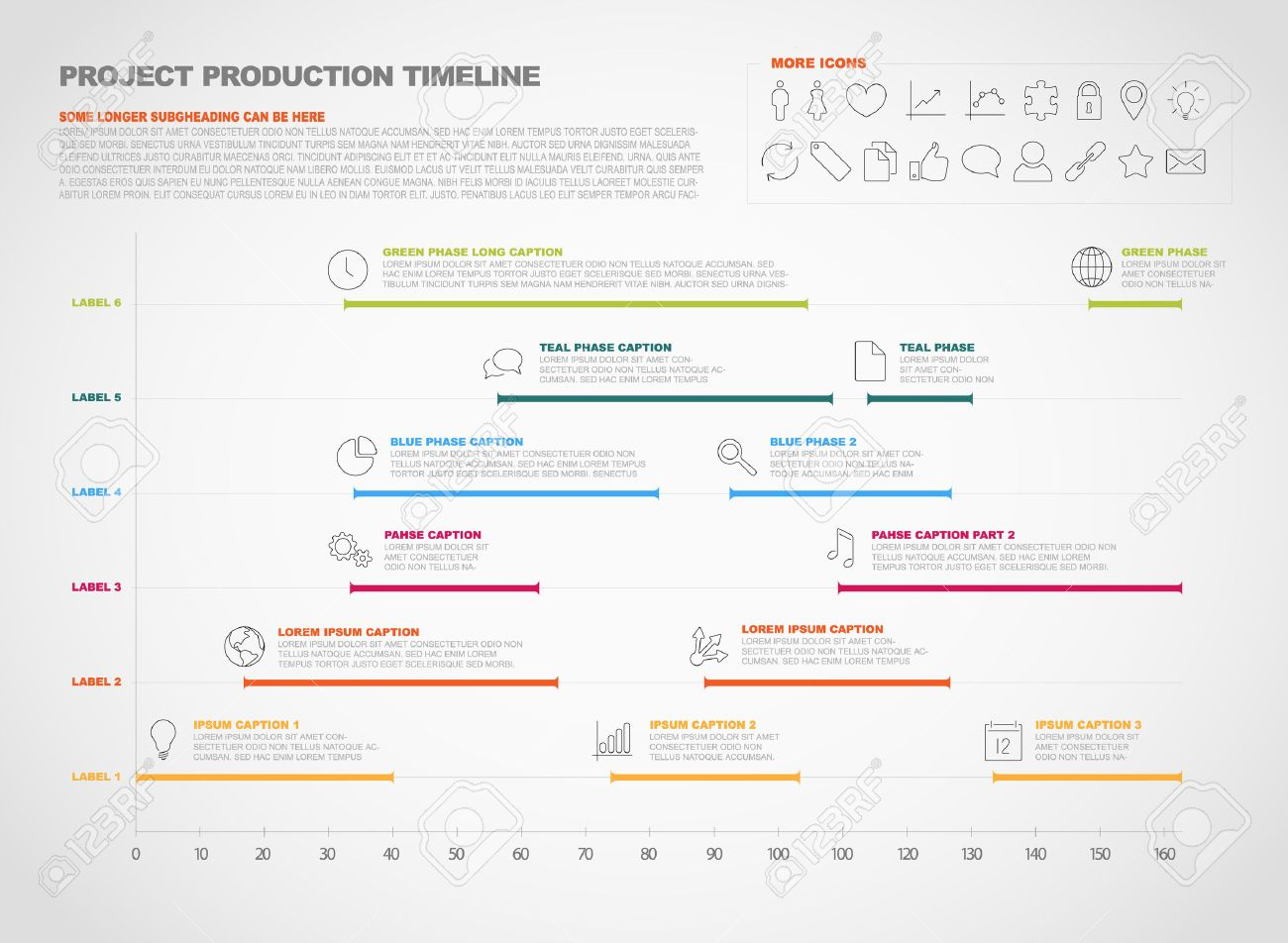 Project Timeline Graph - Gantt Progress Chart Of Project Royalty ...