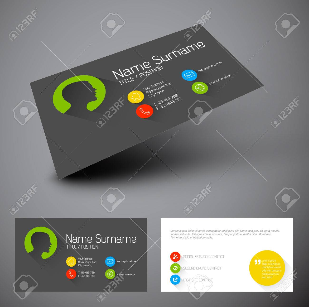 Modern simple business card template with flat user interface modern simple business card template with flat user interface and long shadows stock vector 28682376 accmission Choice Image