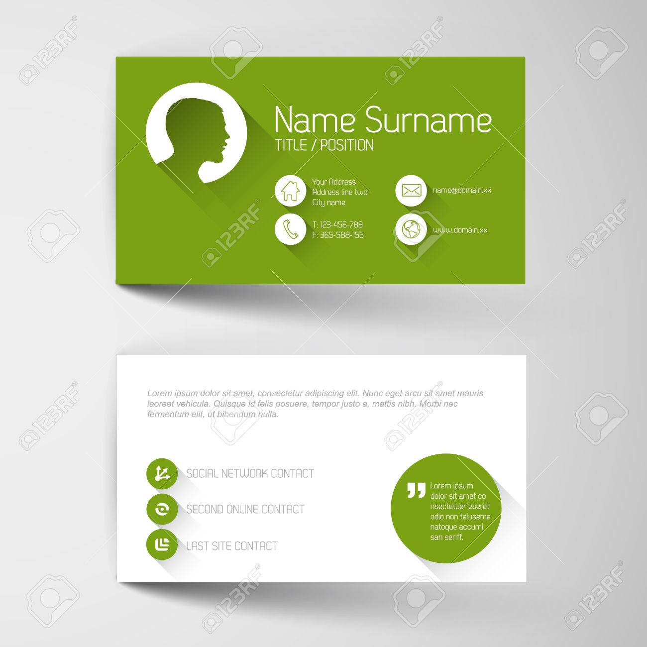 modern simple green business card template flat user modern simple green business card template flat user interface stock vector 28682377