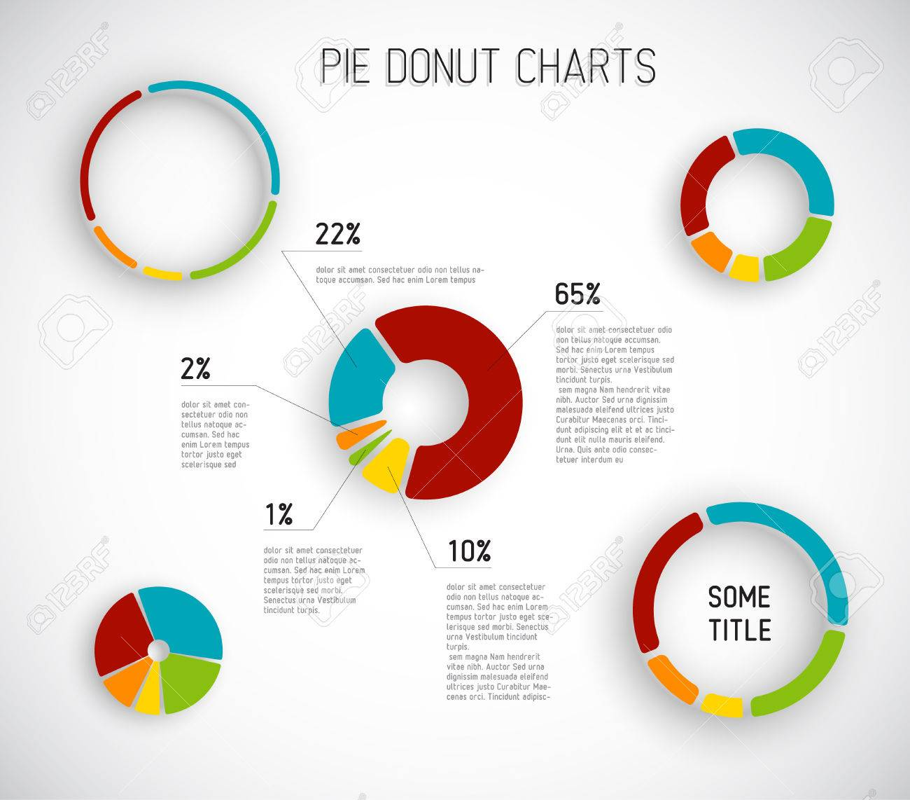 Colorful Vector Donut Pie Chart Templates For Your Reports – Pie Chart Templates