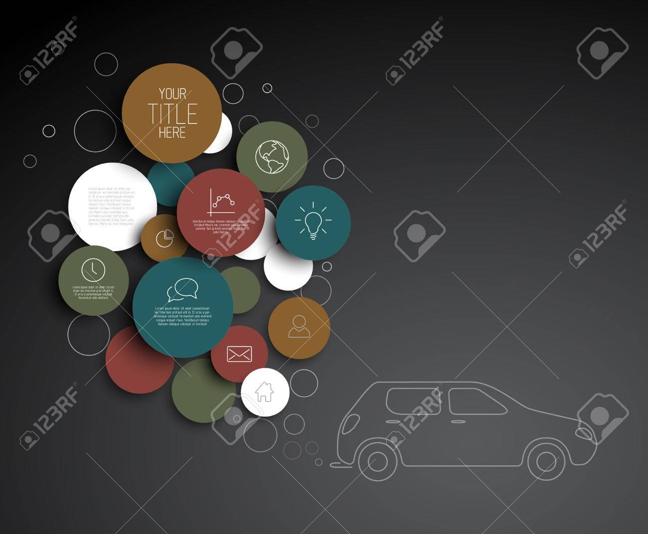 Vector abstract circles pollution illustration / infographic template with place for your content - 29265511