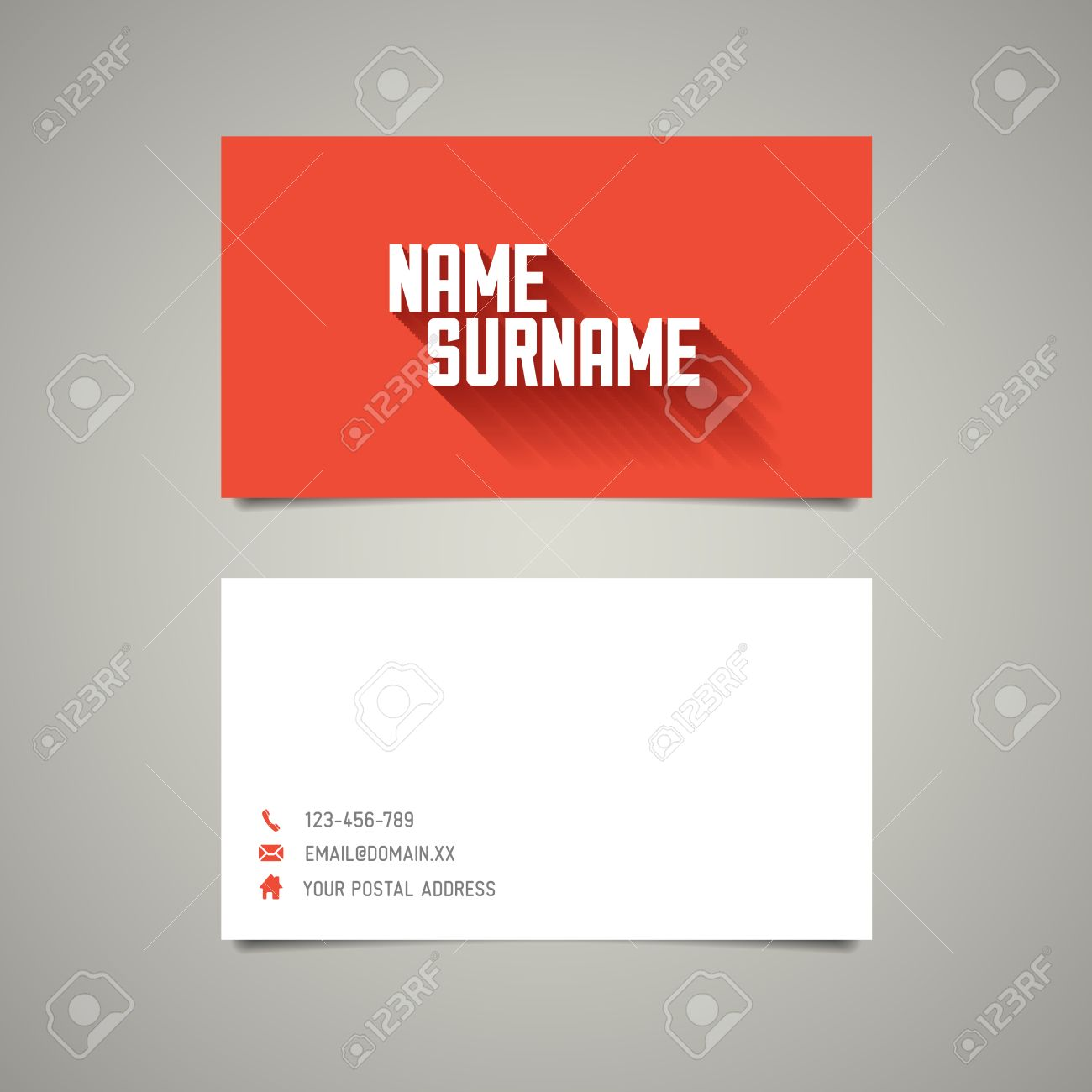Modern simple business card template with big name surname and modern simple business card template with big name surname and long shadow effect stock vector fbccfo Choice Image