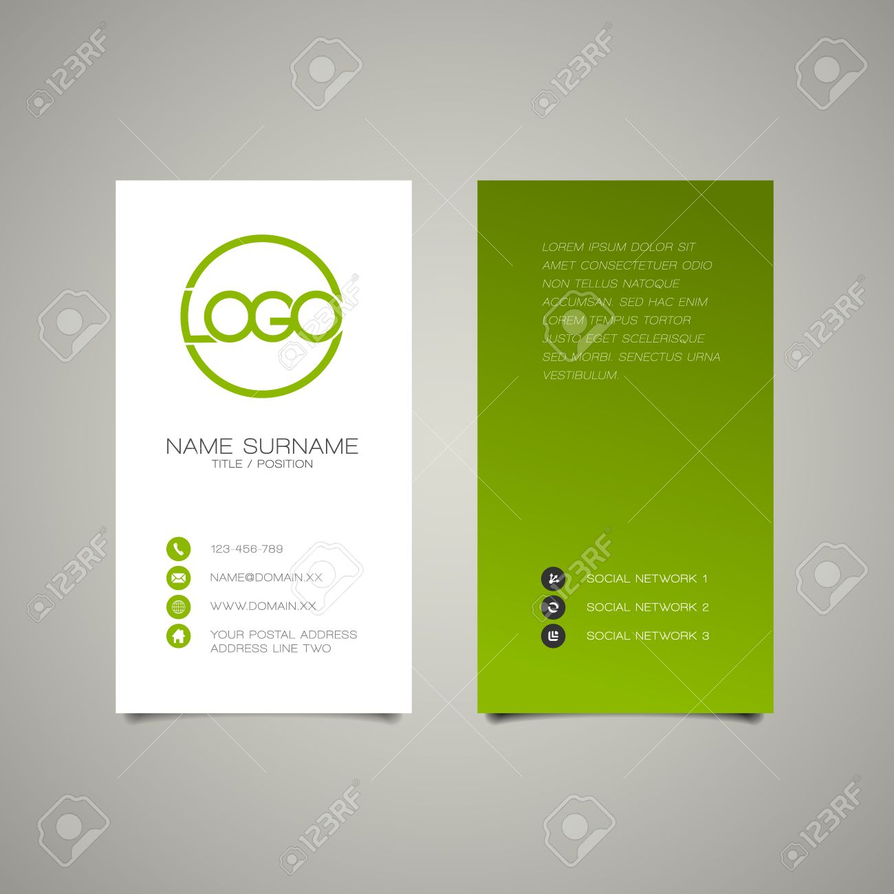 Modern Simple Vertical Business Card Template With Place For ...