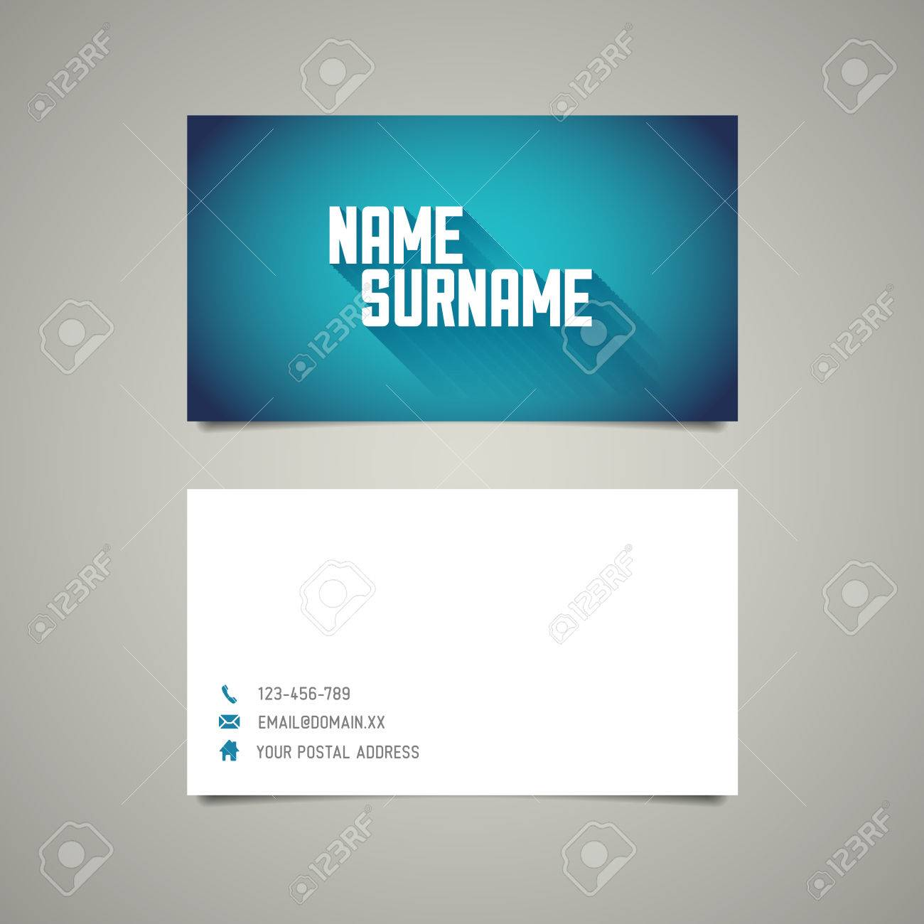 Modern Simple Business Card Template With Big Name Surname And ...