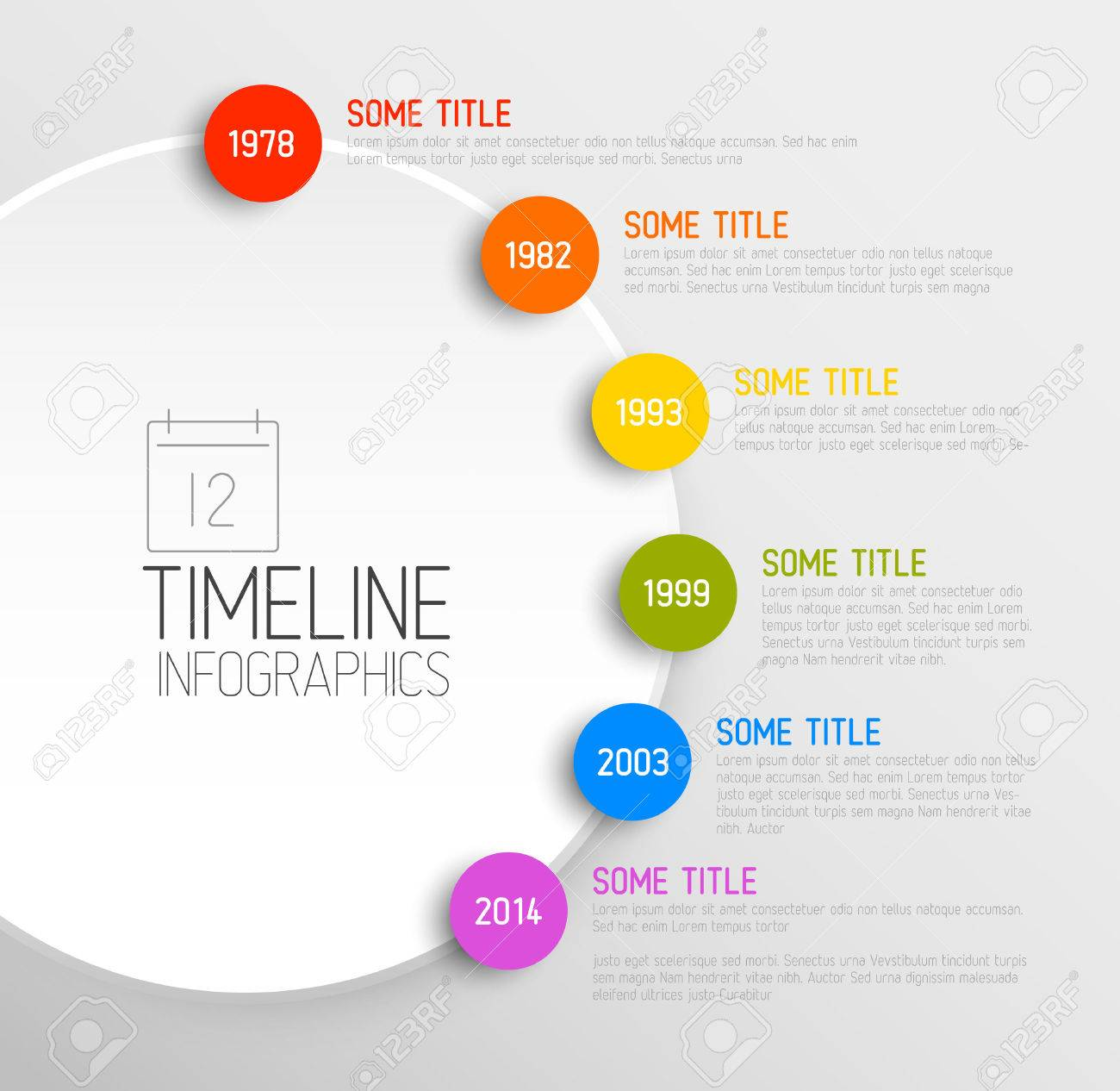 Vector Infografía Plantilla De Informe Línea De Tiempo Con Iconos ...