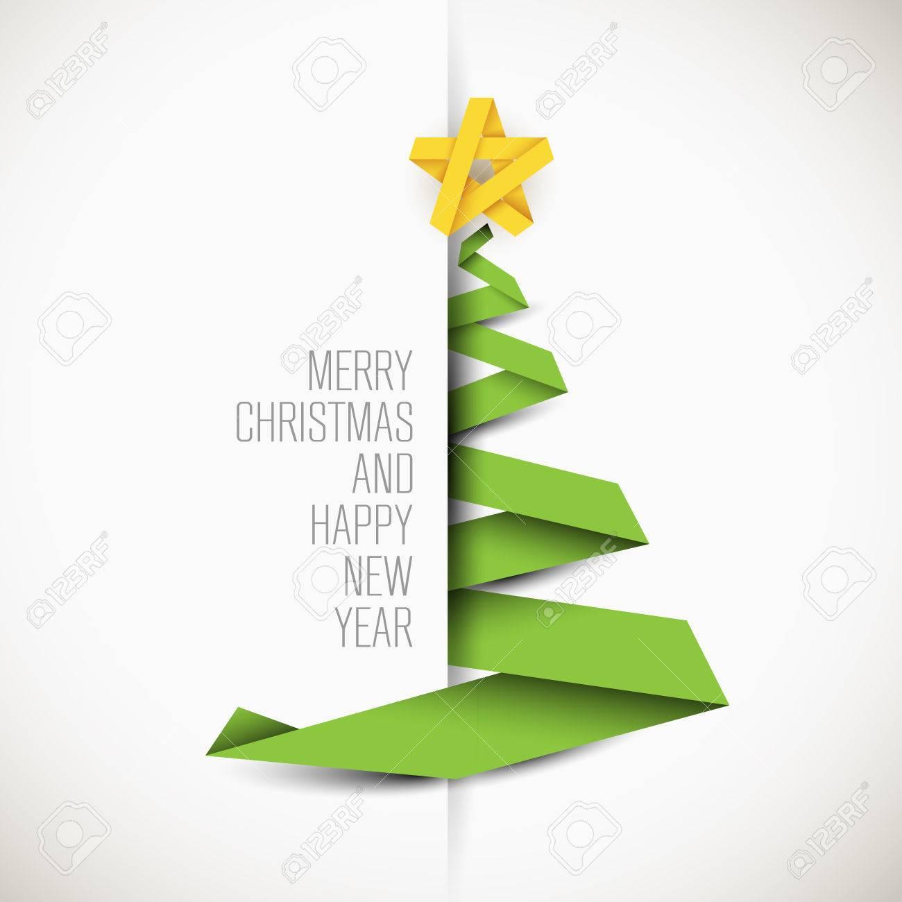 Tarjeta Simple Del Vector Con El Arbol De Navidad Verde Hecho De La - Tarjeta-de-navidad-original