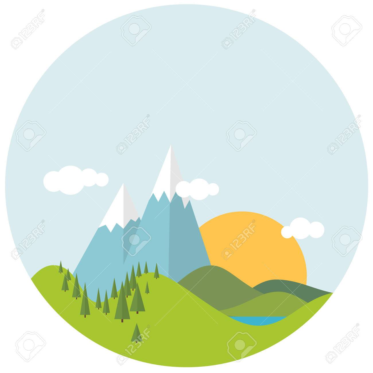 simple flat design spring landscape with mountains and trees royalty rh 123rf com