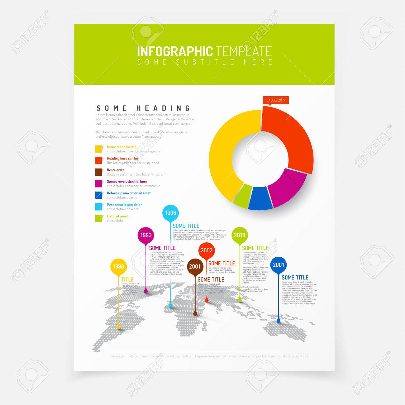 Paper poster with simple world map infographic and flat design paper poster with simple world map infographic and flat design pie chart stock vector 36054778 gumiabroncs Images