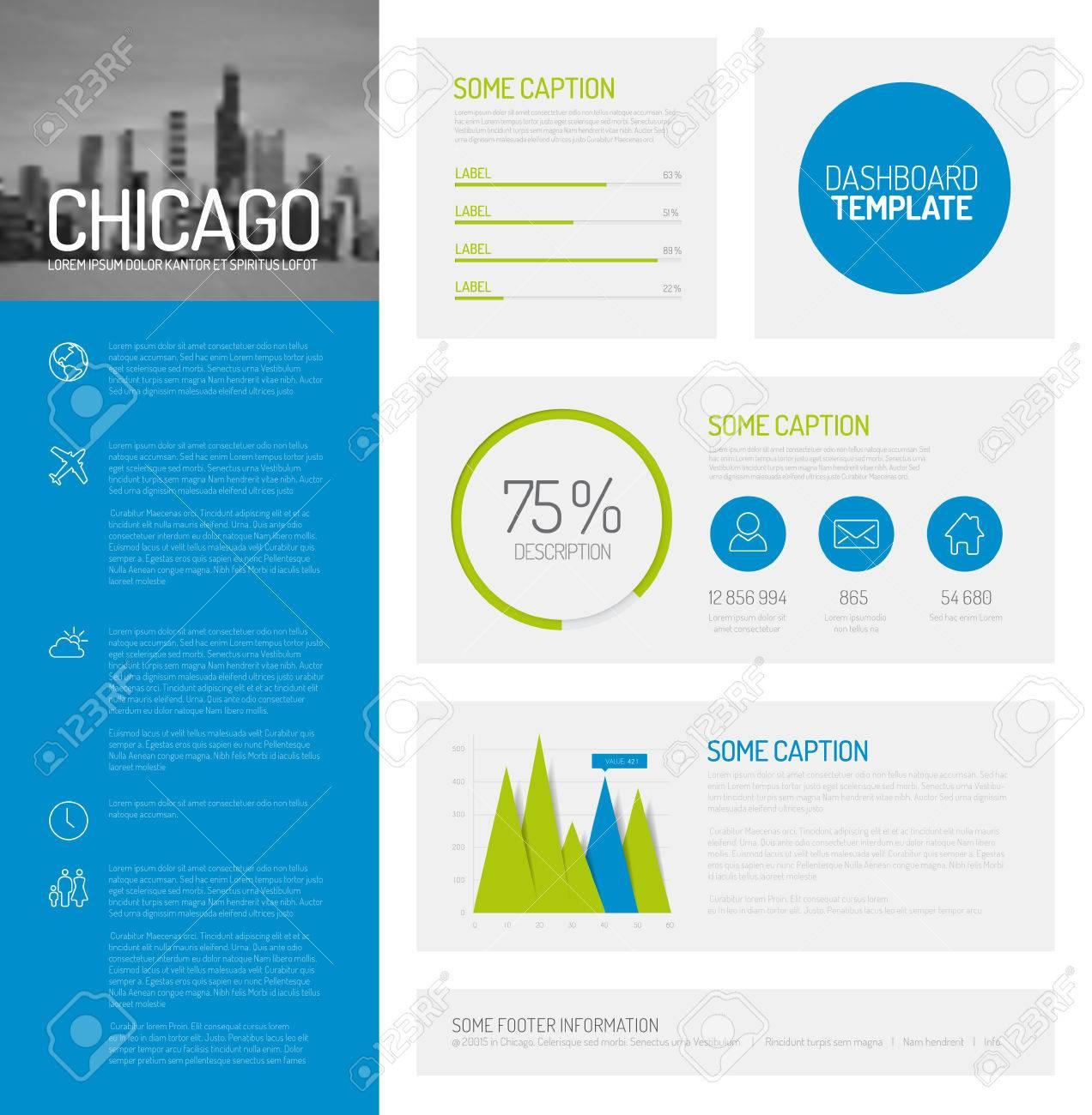 Einfache Infografik Dashboard-Vorlage Mit Flachen Design Grafiken ...