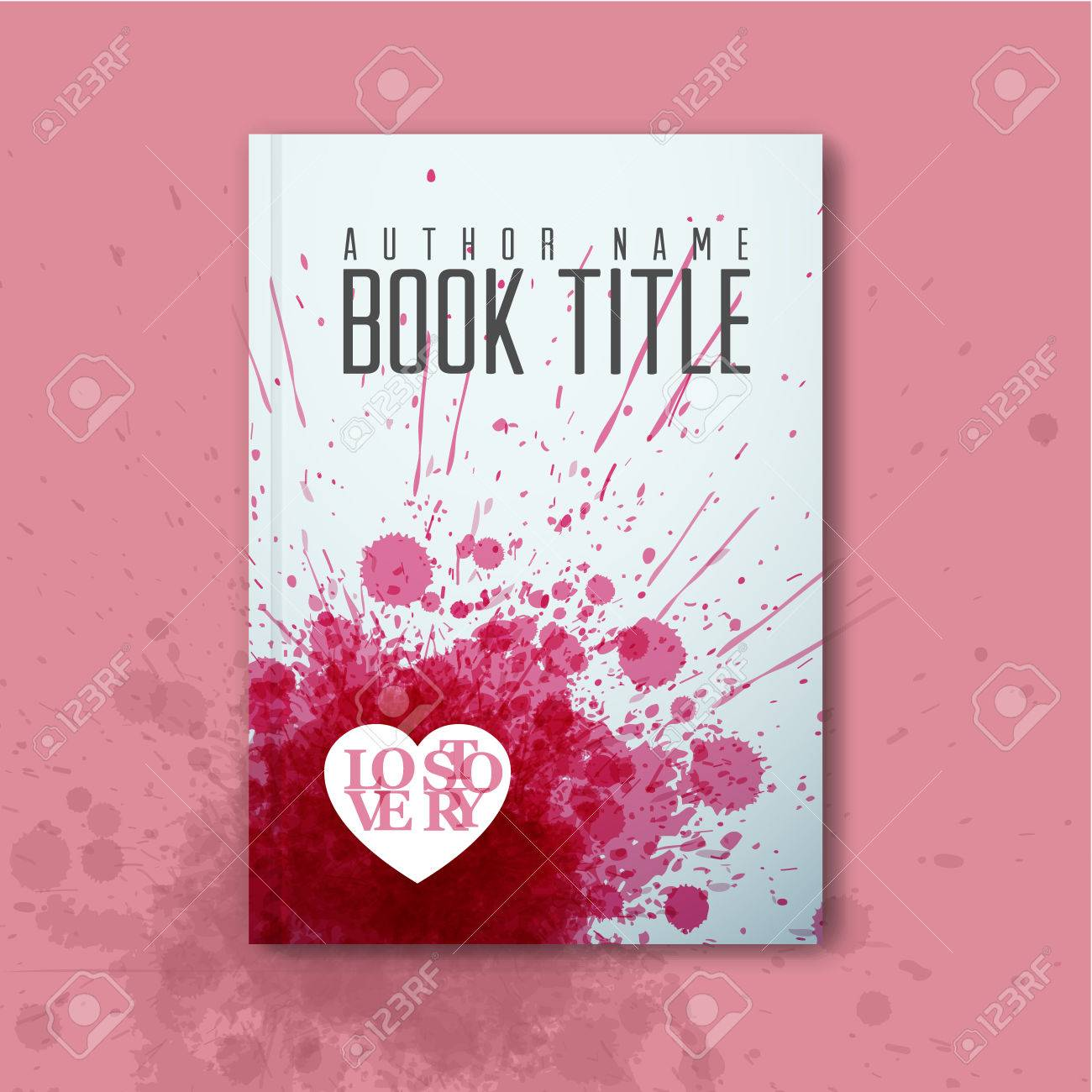 Modern Vector Abstract Book Cover Template For Love Story Royalty