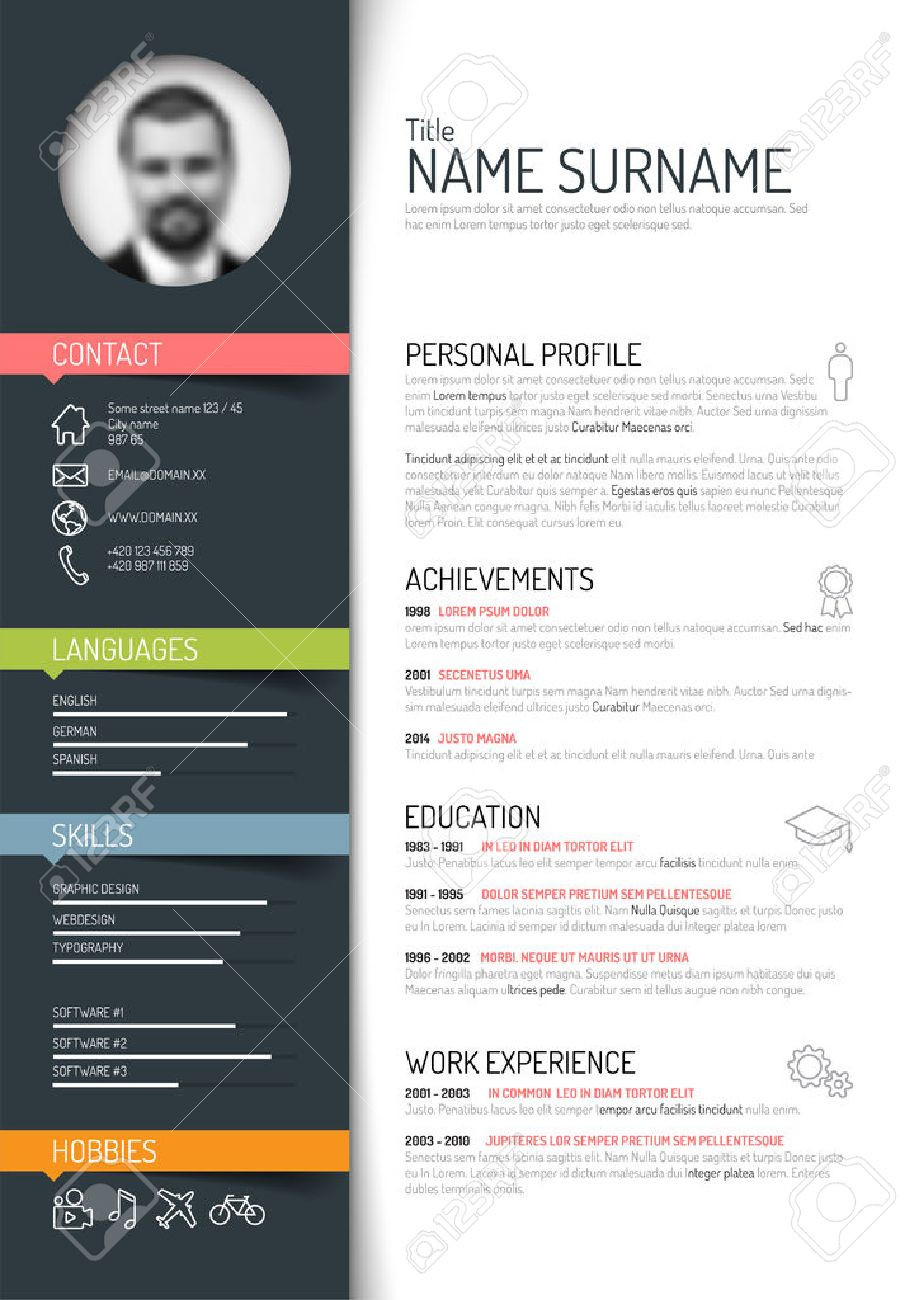 Vector Minimalist Cv Resume Template Dark Color Version Royalty