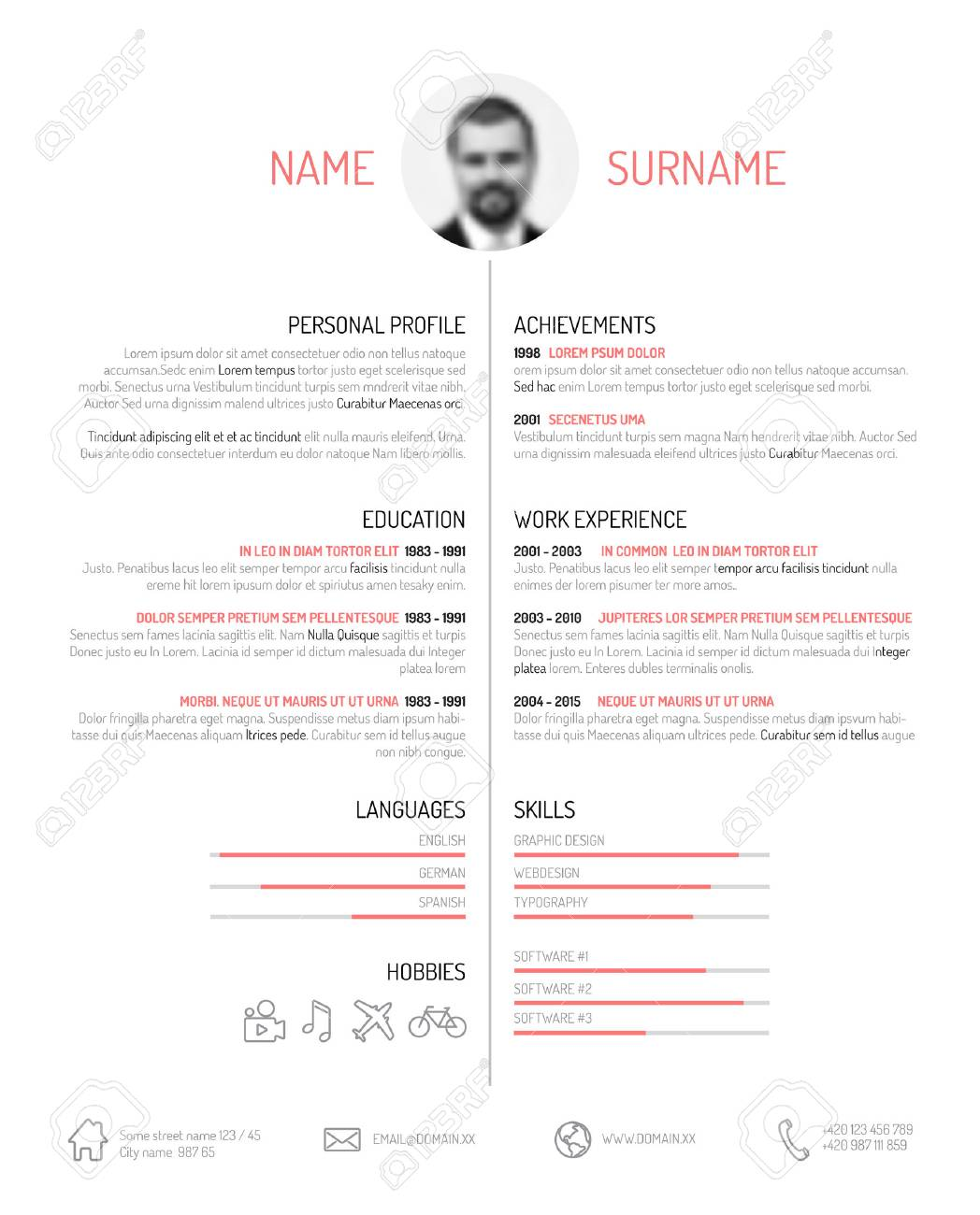 Vector Minimalist Cv  Resume Template  Minimalistic Black And