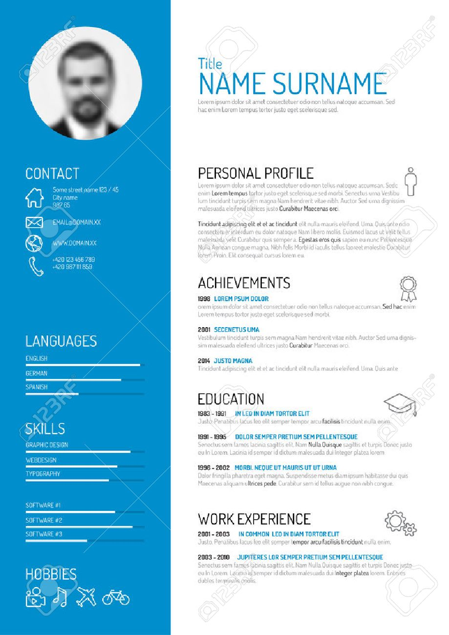 Vector Minimalist Cv / Resume Template Royalty Free Cliparts ...