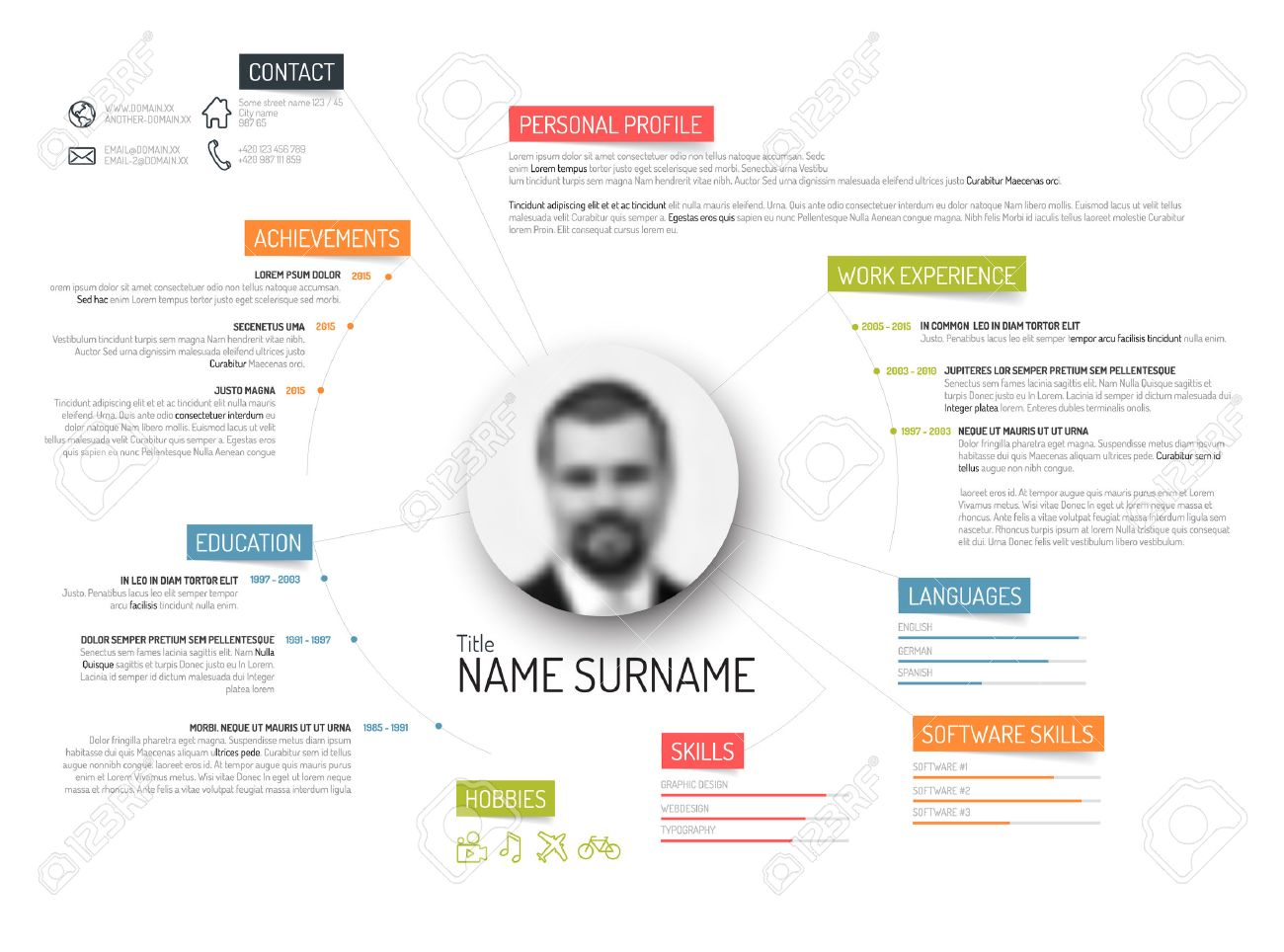 Vector Original Minimalist Cv Resume Template Creative Version - Colorful resume templates free