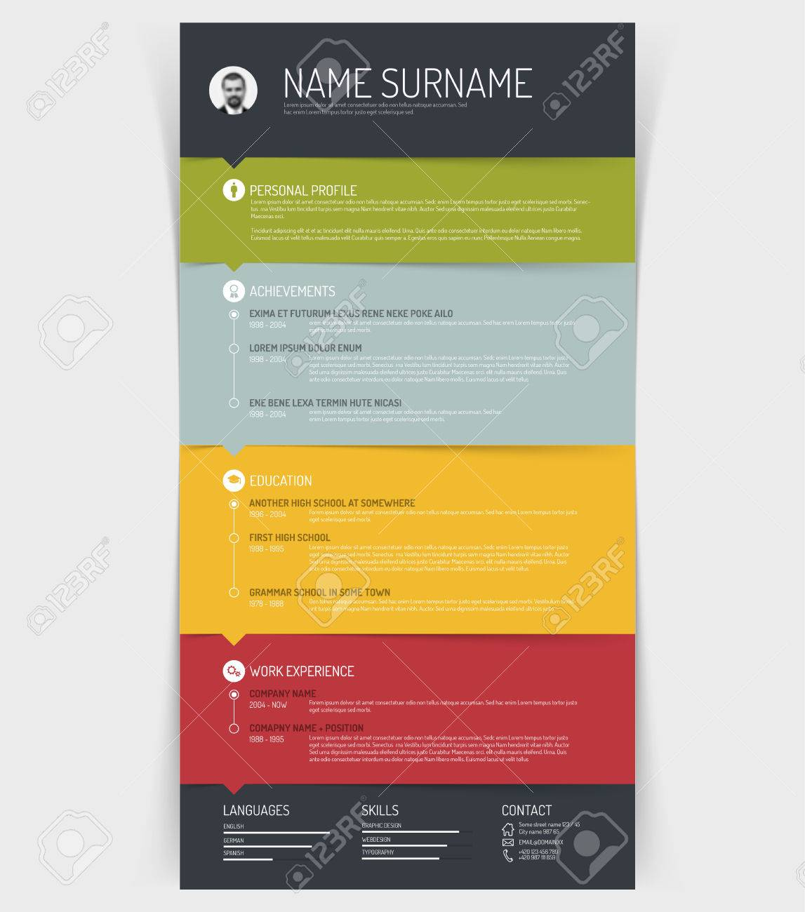 Vector Minimalist Cv Resume Template With Colorful Sections