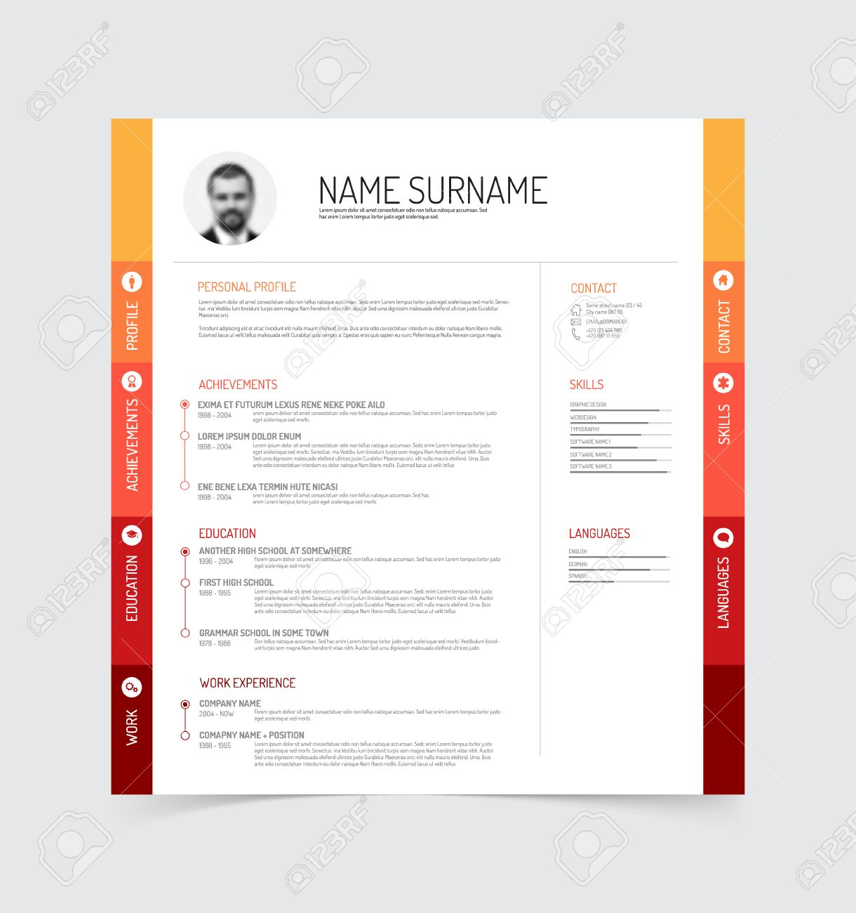 Minimalist Cv Resume Template Royalty Free Cliparts Vectors And