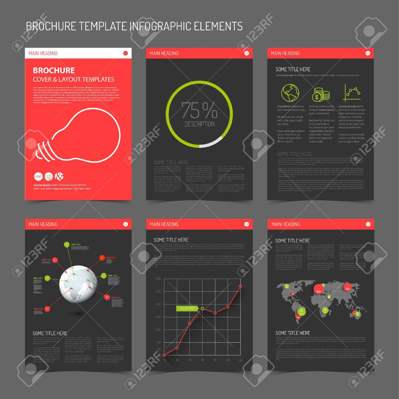 Set Of Modern Brochure Flyer Design Templates With Graphs, Charts ...