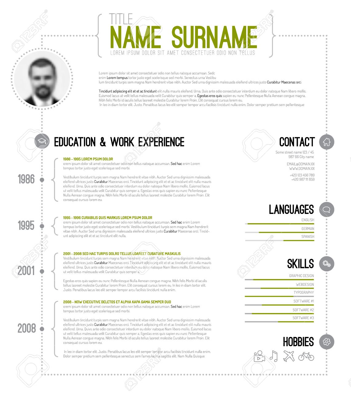 Vector Minimalist Cv / Resume Template With Timeline - Green ...
