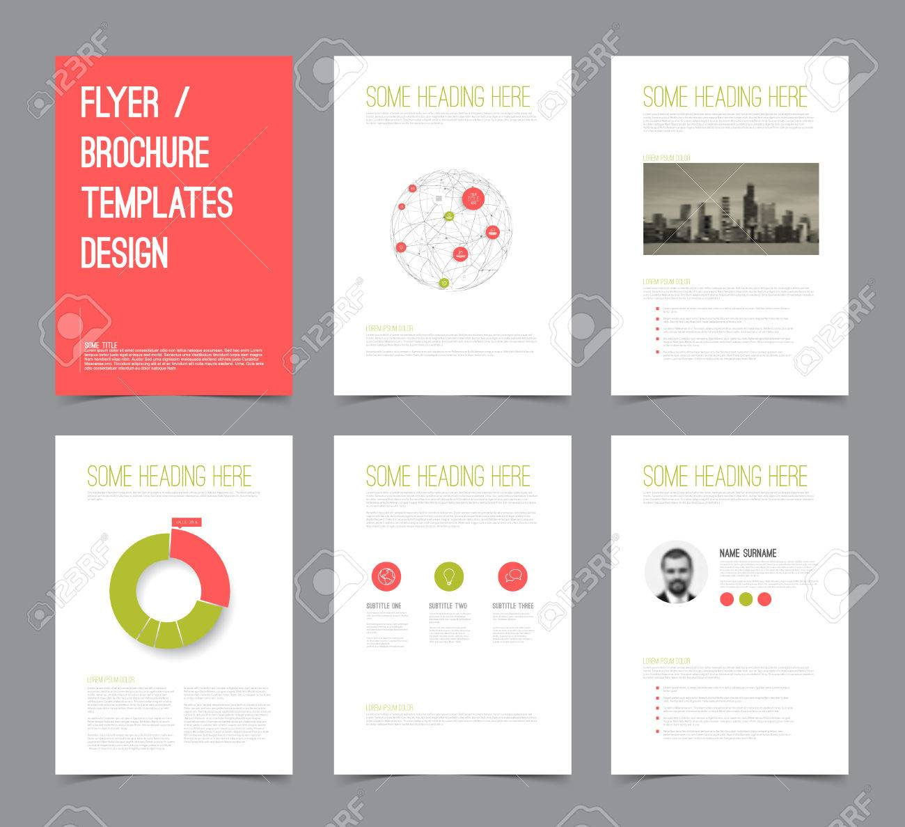 set of modern brochure flyer design templates with graphs charts