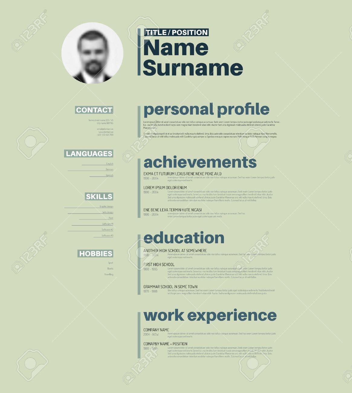Vector minimalist cv / resume template with nice typogrgaphy design - 40540540