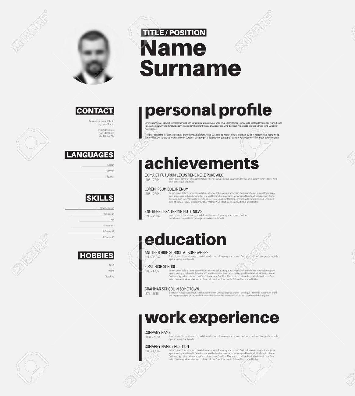 Vector minimalist cv / resume template with nice typogrgaphy..