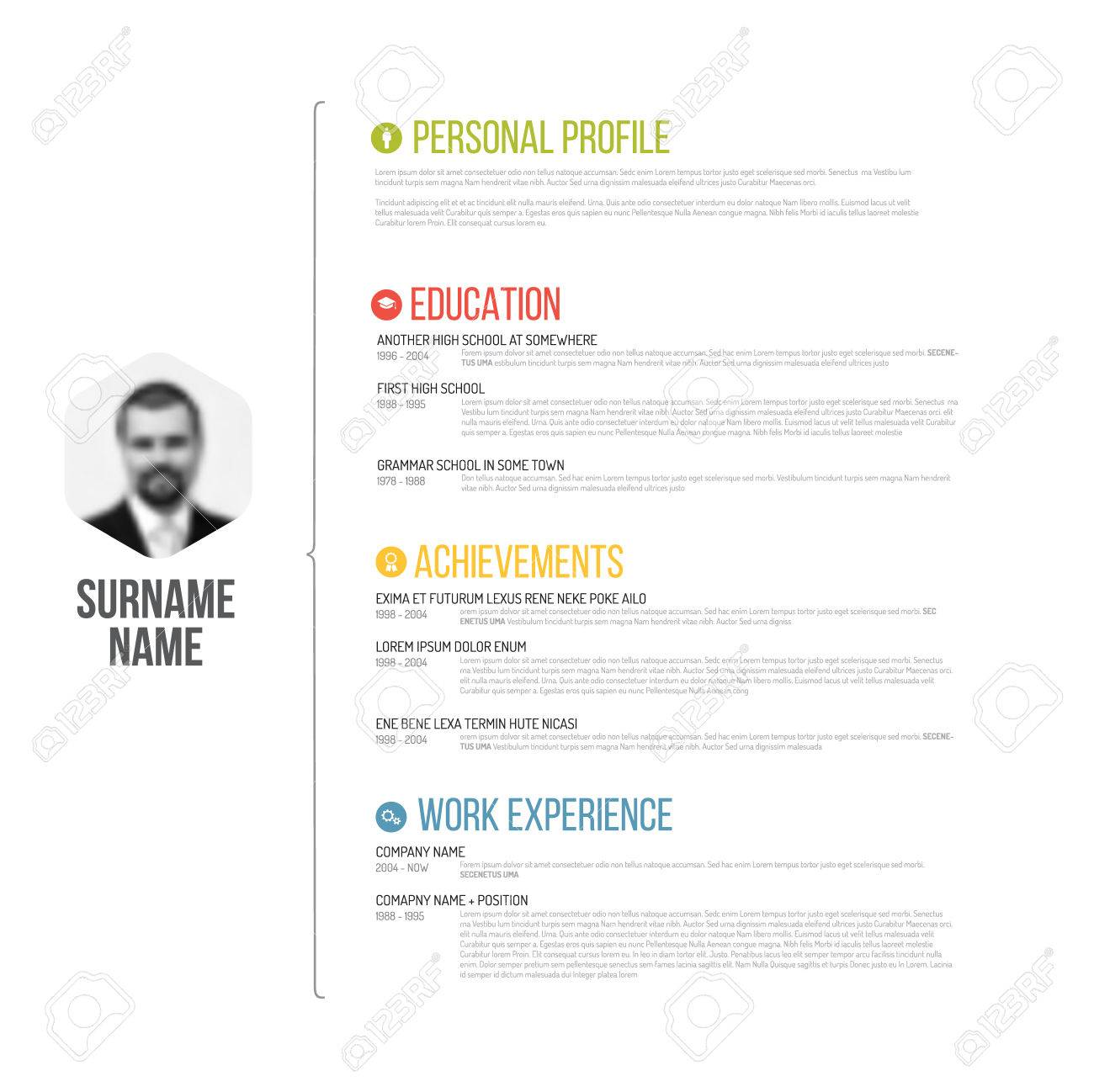 vector vector minimalist cv resume template design with profile photo - Minimalist Resume Template