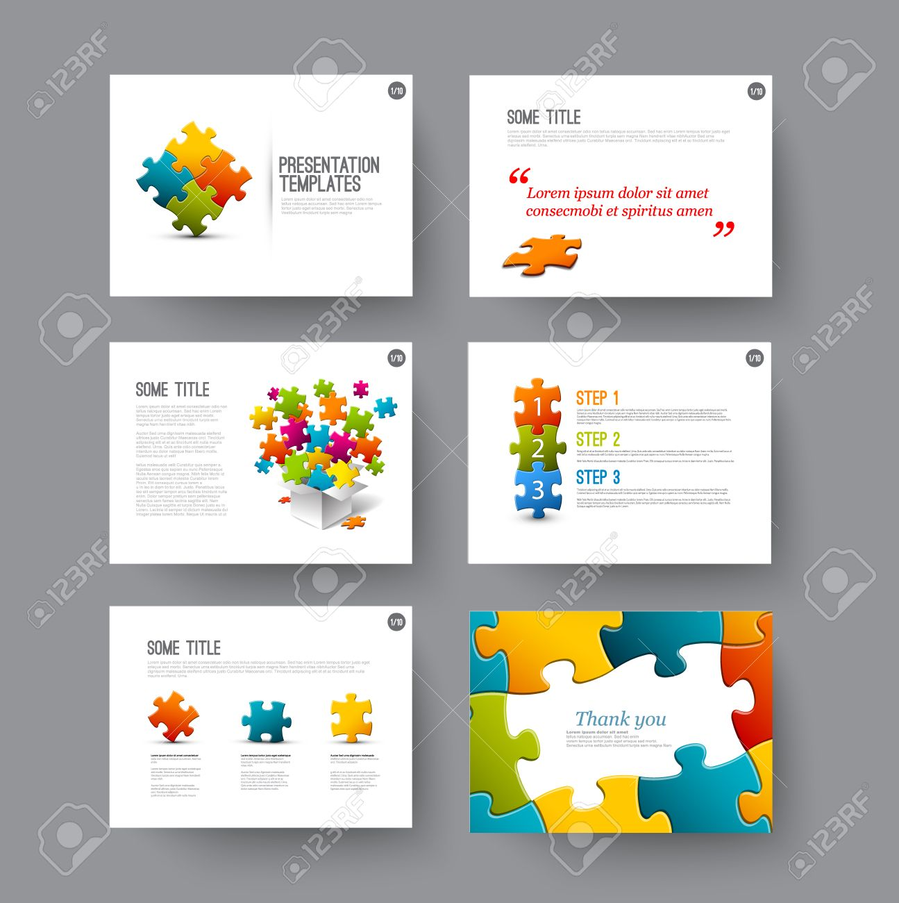 Vector Template for presentation slides with puzzle pieces - 41660110
