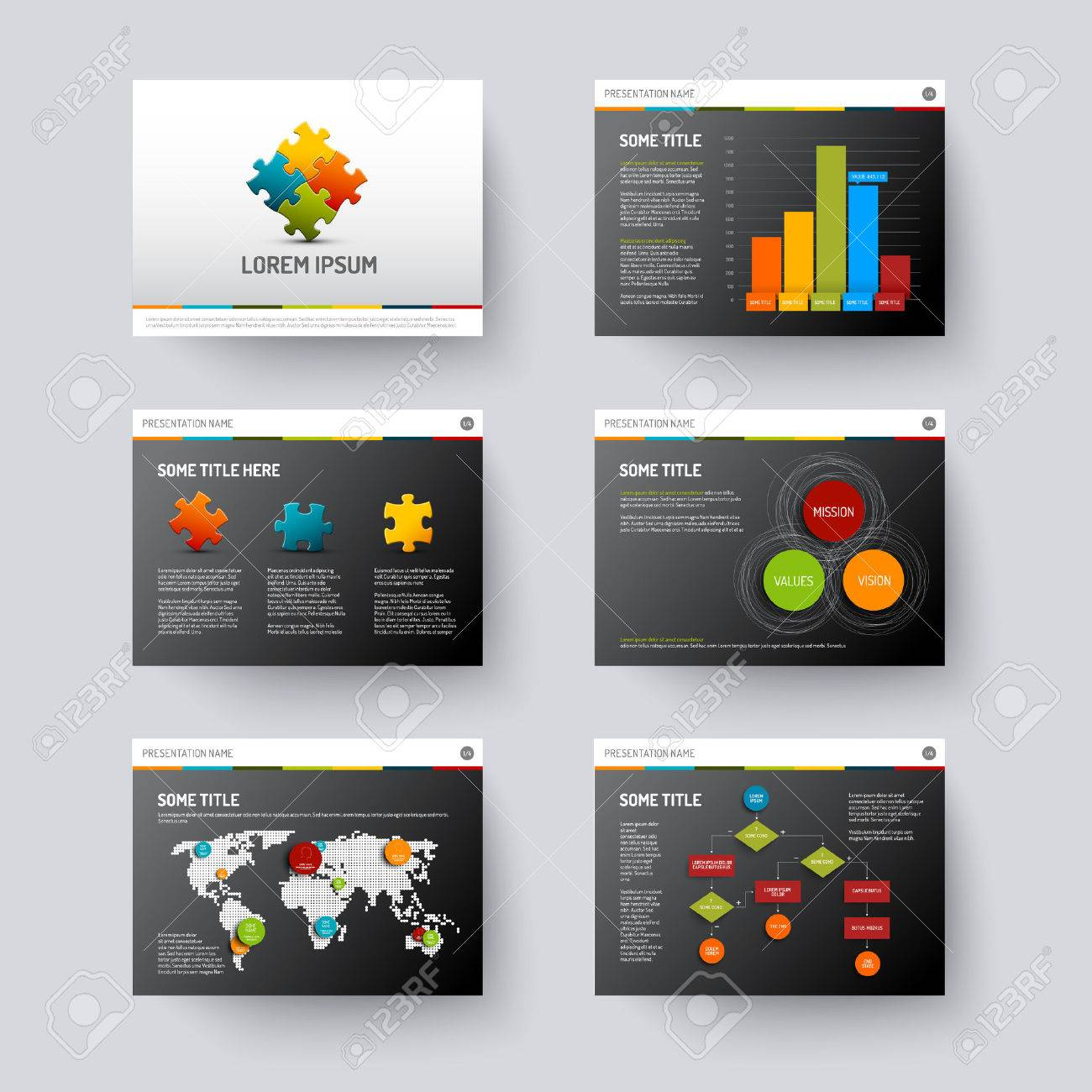 Vector Dark Template For Presentation Slides With Graphs And ...