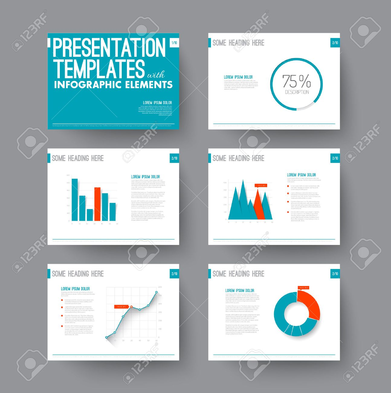 Vector Template for presentation slides with graphs and charts - blue and red version - 41662651