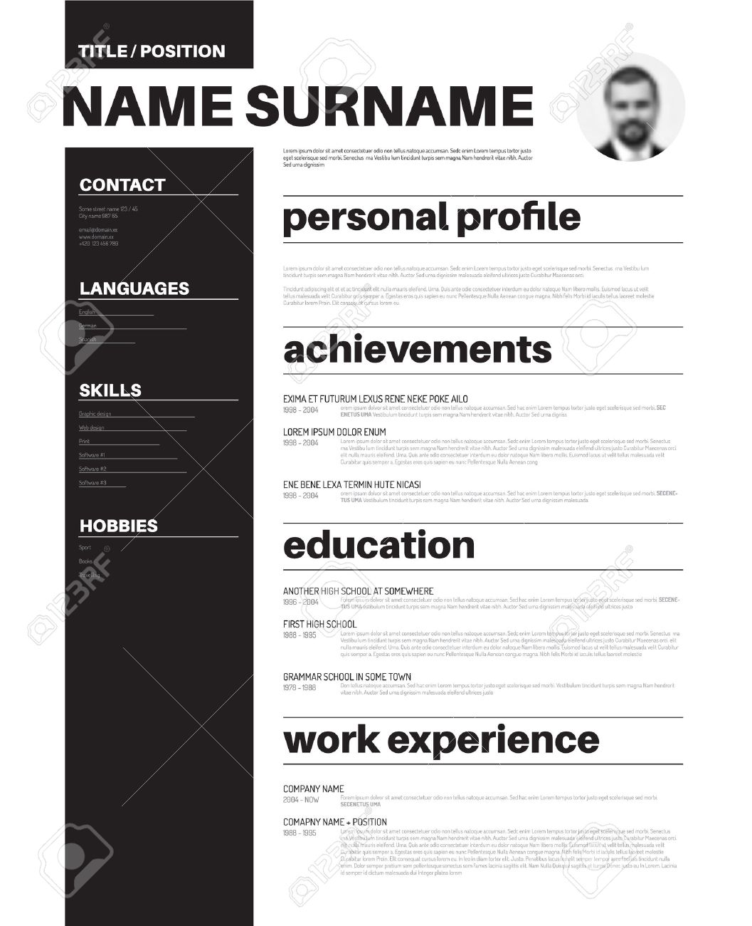 vector vector minimalist cv resume template with nice typogrgaphy design - Minimalist Resume Template