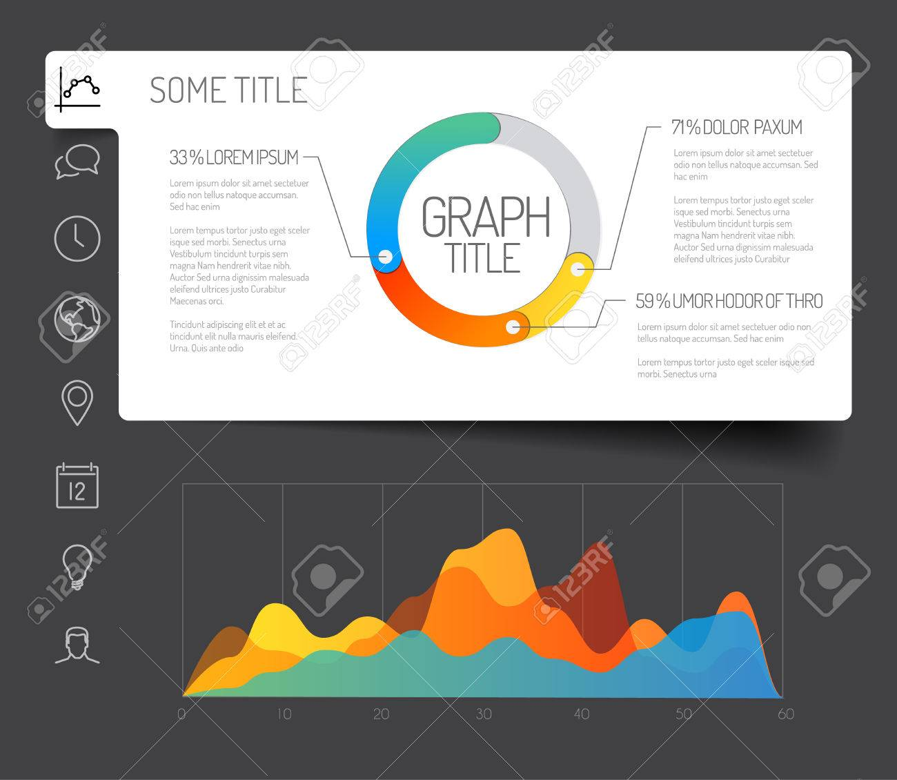 simple infographic dashboard template with flat design graphs